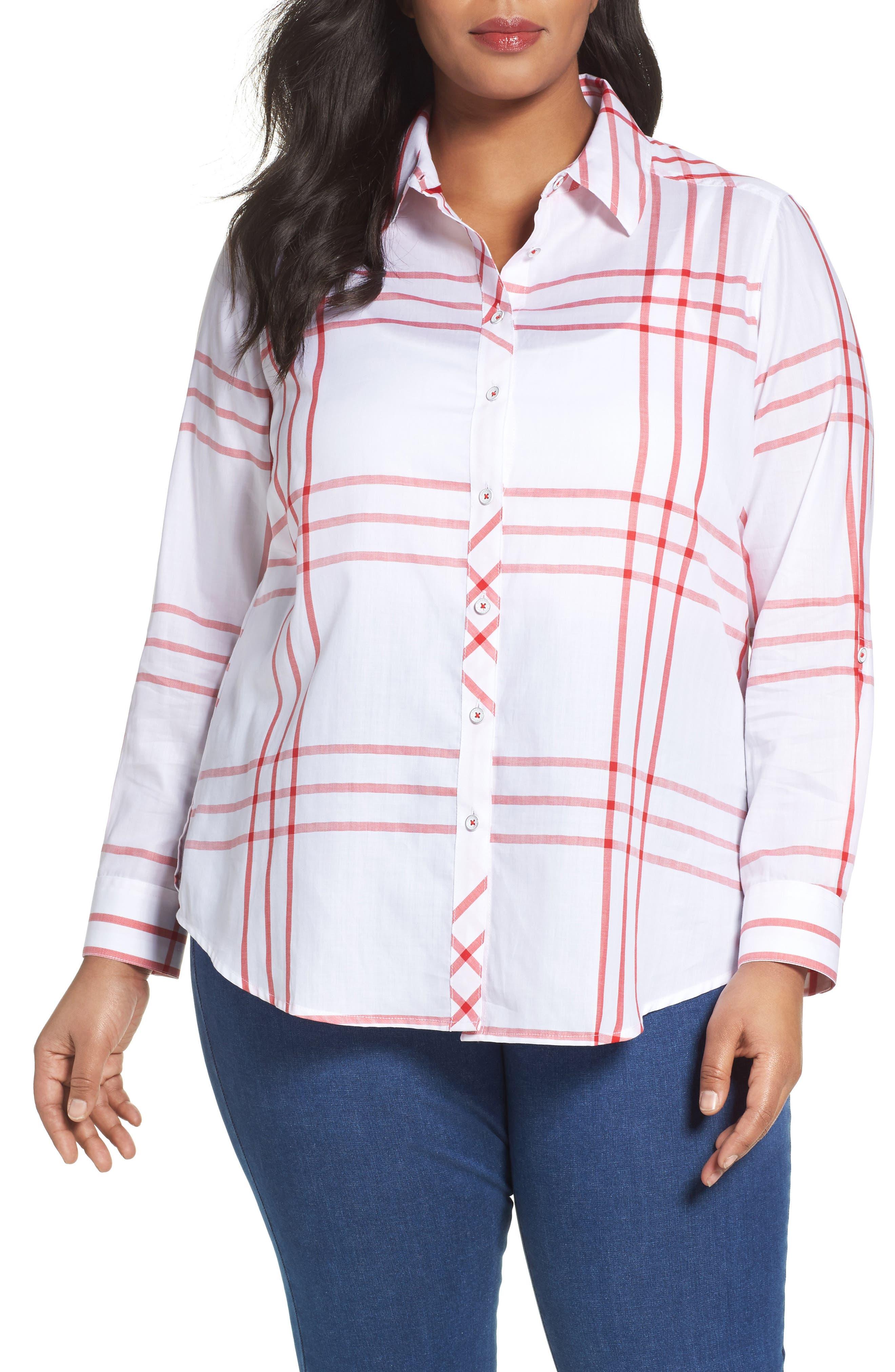 FOXCROFT Herringbone Windowpane Roll Sleeve Shirt