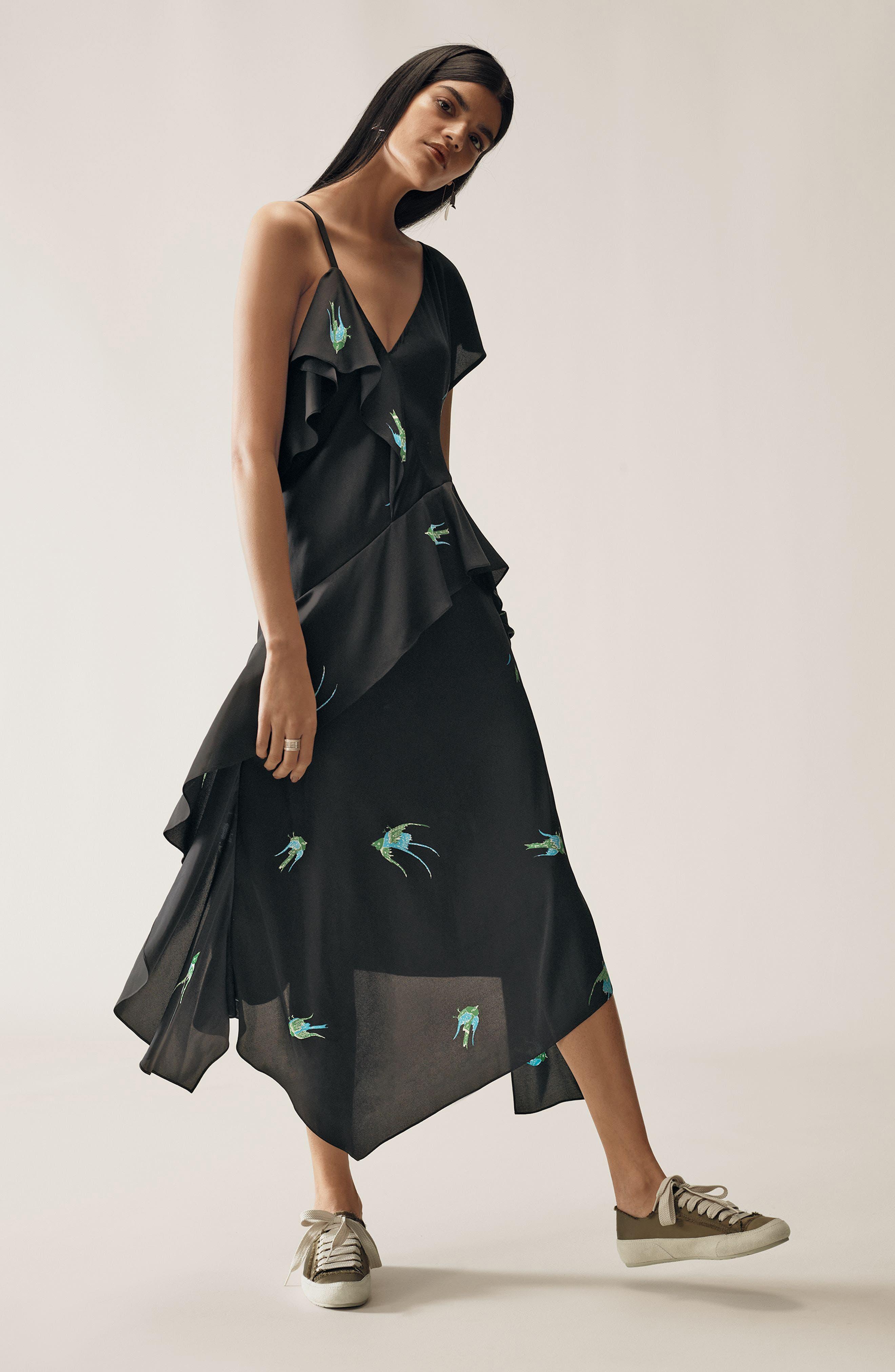 Alternate Image 6  - Diane von Furstenberg Asymmetrical Ruffle Midi Dress