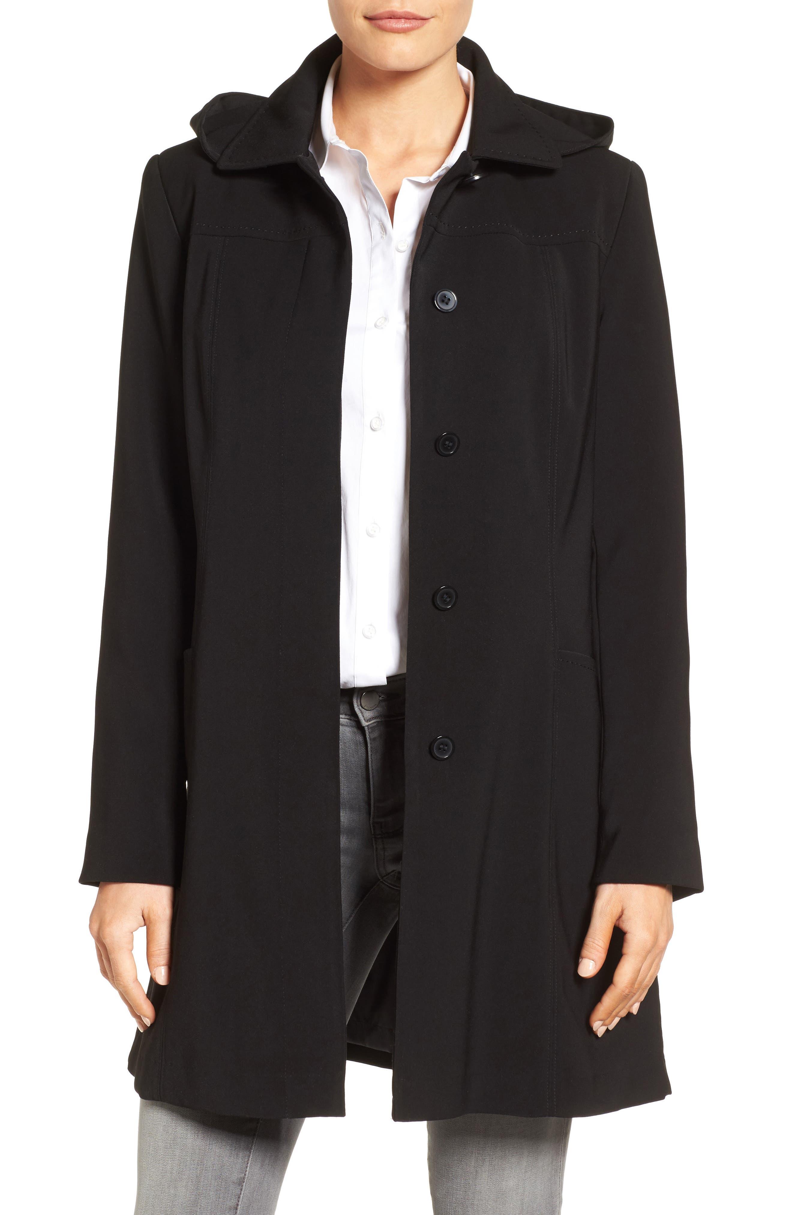 Alternate Image 1 Selected - Gallery Pickstitch Nepage Walking Coat with Detachable Hood (Regular & Petite)