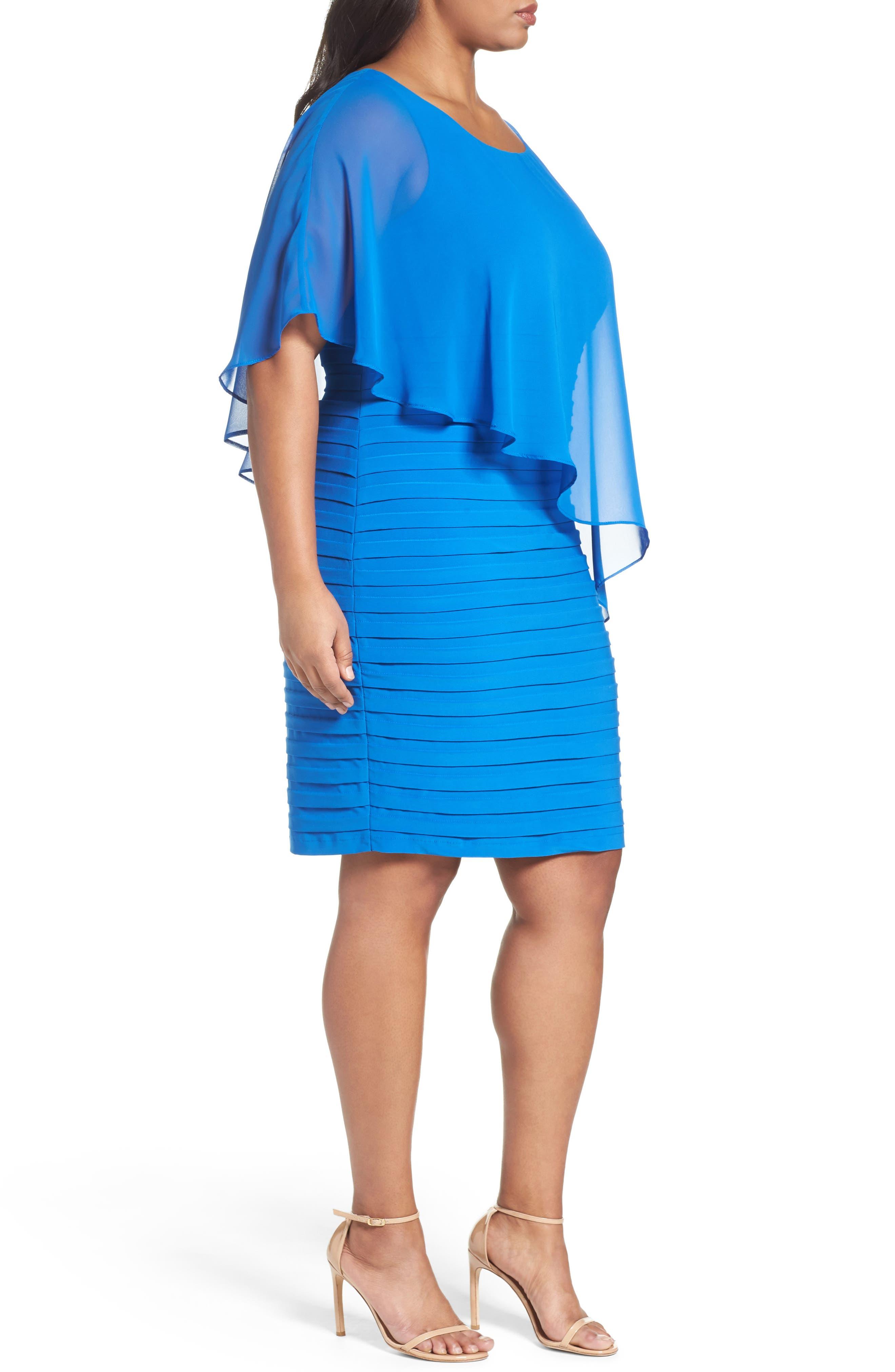 Alternate Image 3  - Adrianna Papell Chiffon Overlay Shutter Pleat Sheath Dress (Plus Size)
