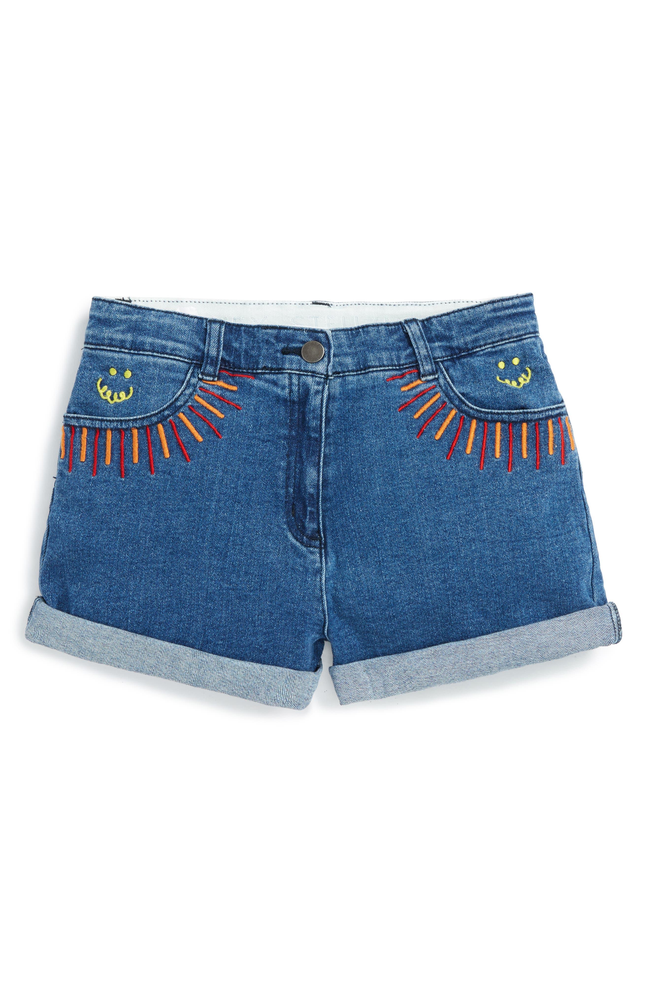 Stella McCartney Kids Eddie Rainbow Embroidered Denim Shorts (Toddler Girls, Little Girls & Big Girls)