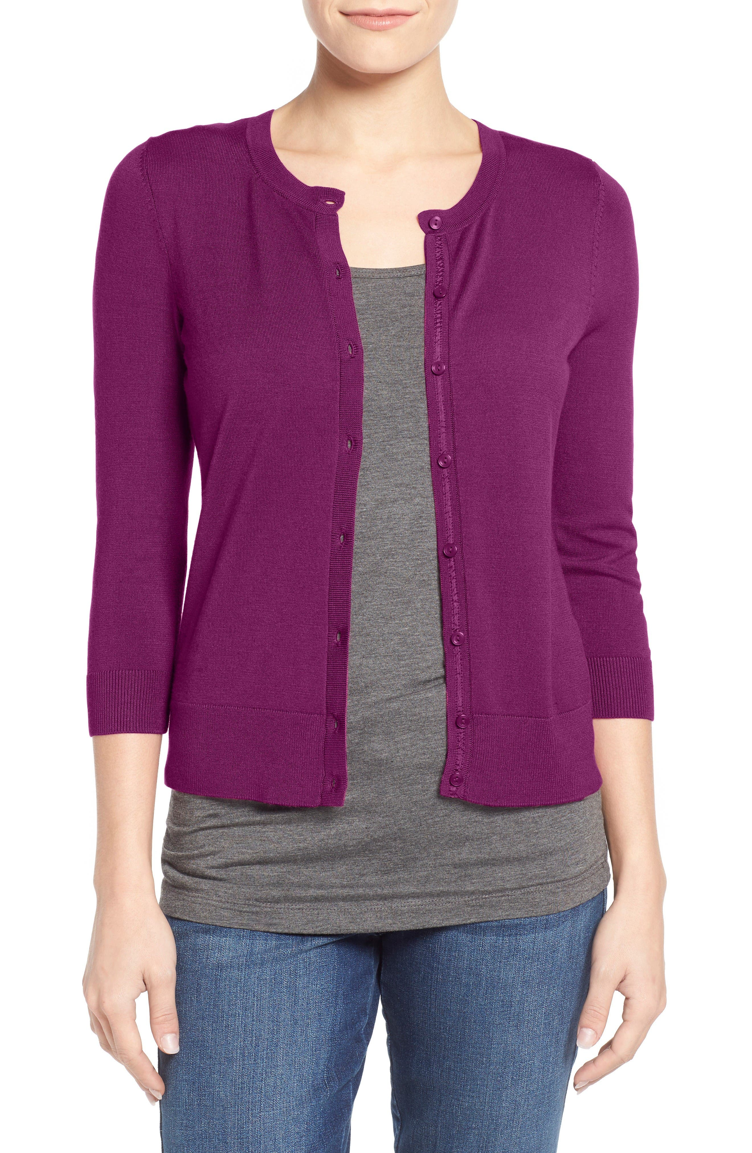 Alternate Image 1 Selected - Halogen® Three Quarter Sleeve Cardigan (Regular & Petite)