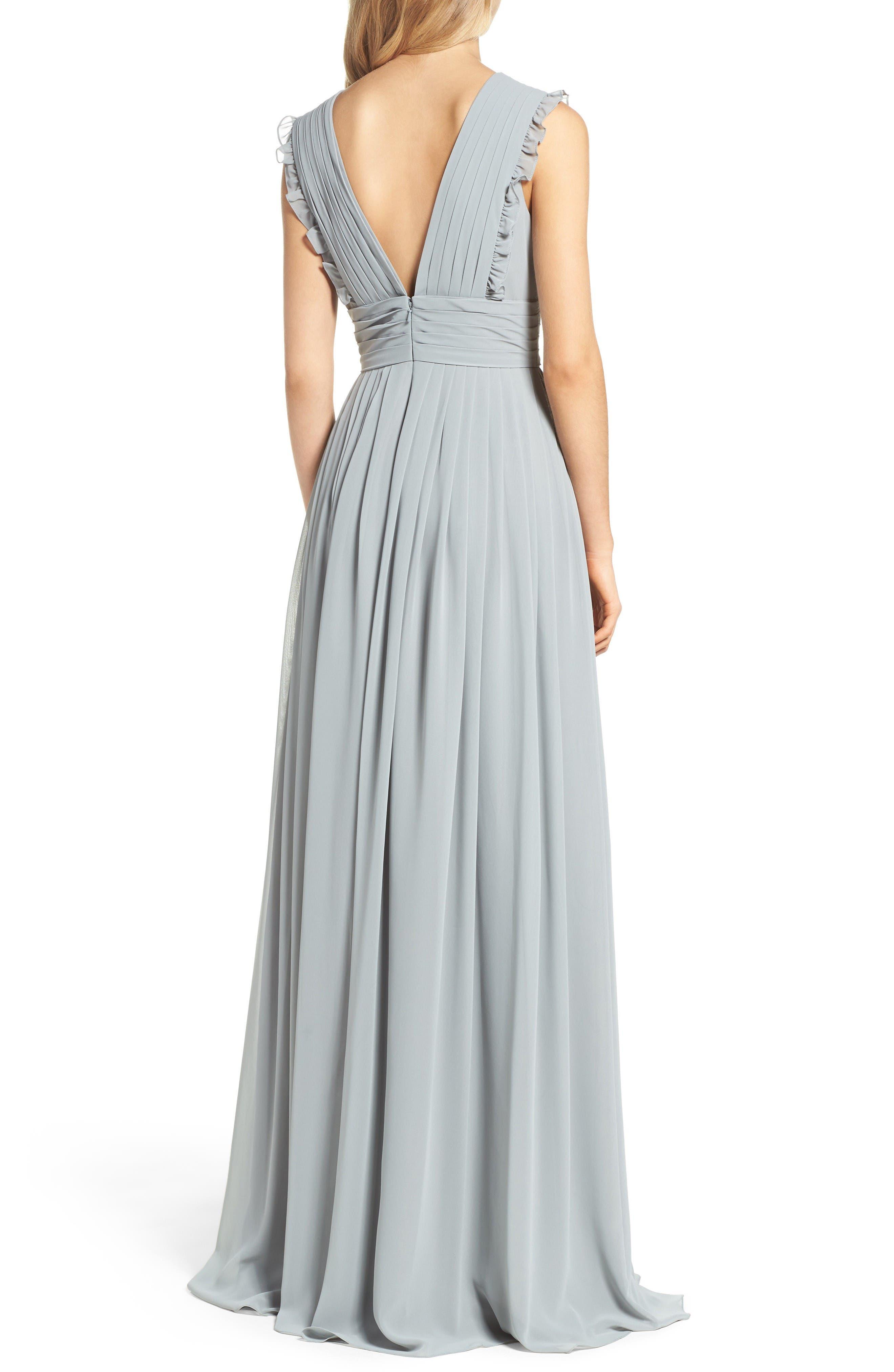 Alternate Image 2  - Monique Lhuillier Bridesmaids Deep V-Neck Ruffle Pleat Chiffon Gown