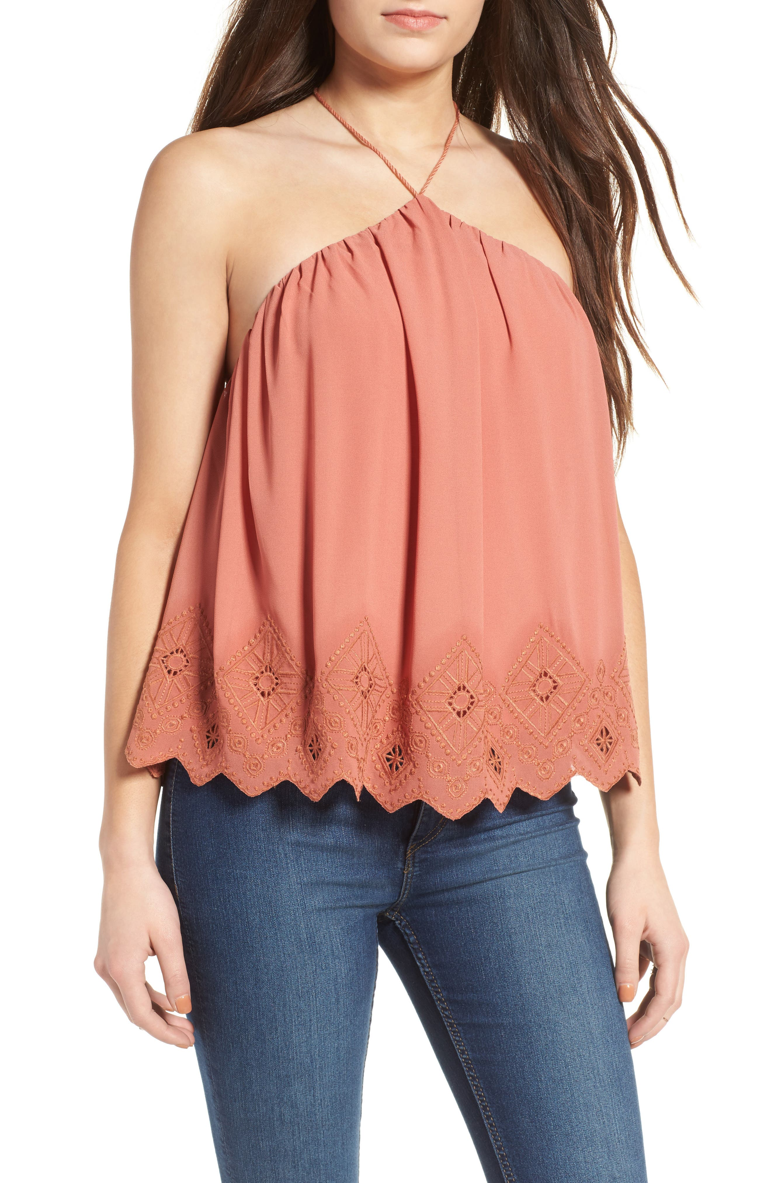 Main Image - ASTR the Label Lace Halter Tank