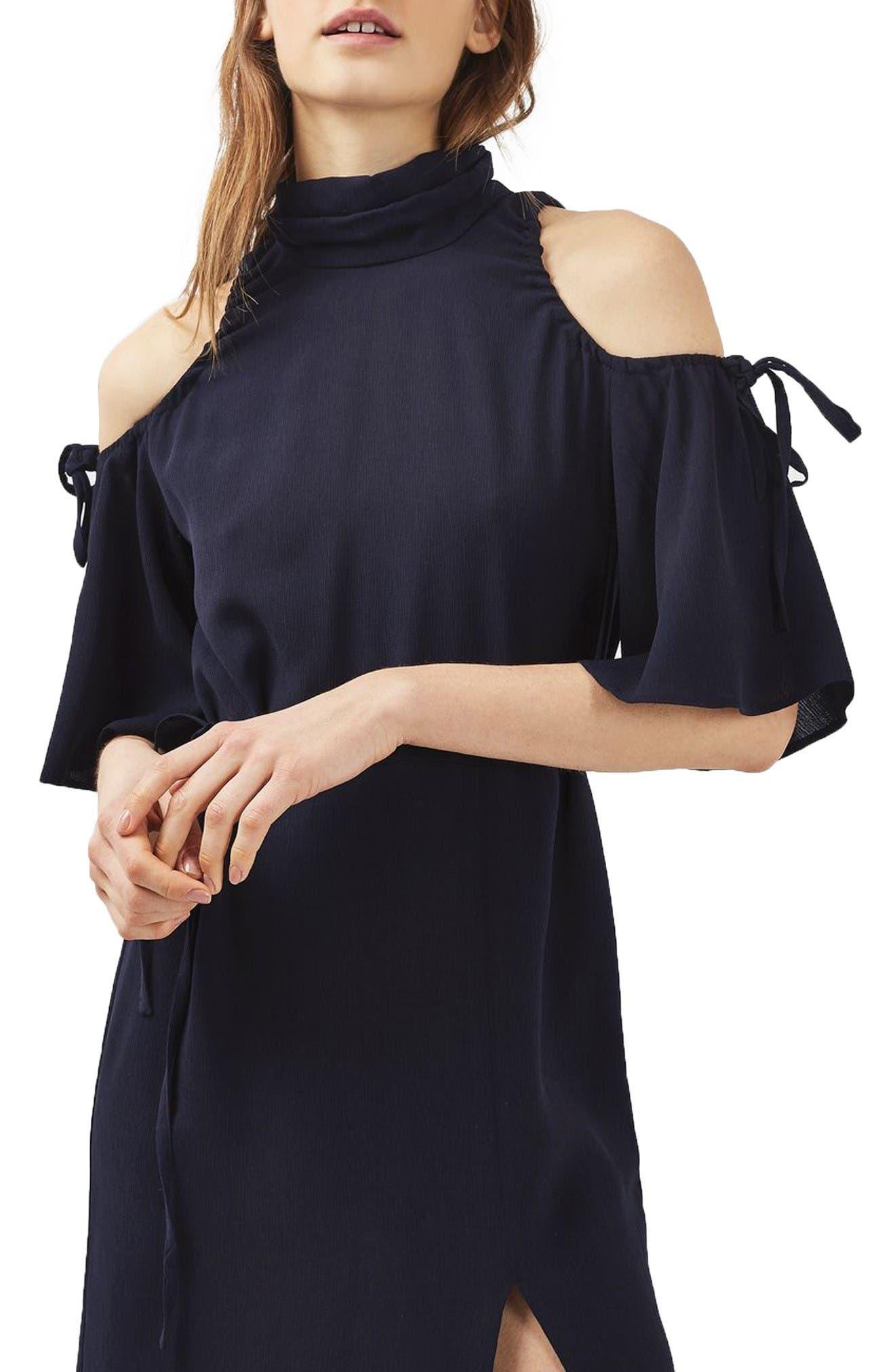 Alternate Image 3  - Topshop High Neck Cold Shoulder Dress