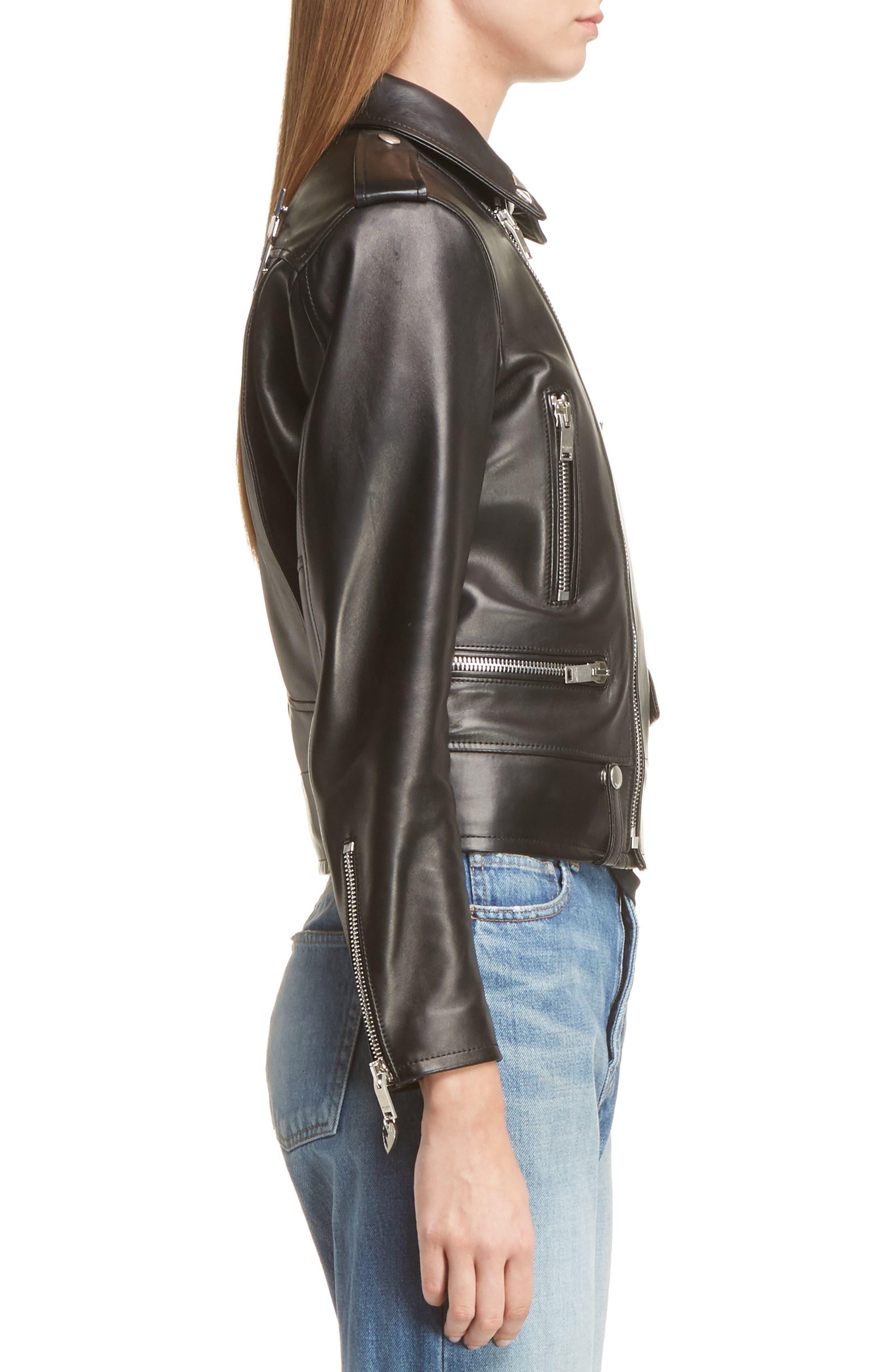 Alternate Image 4  - Saint Laurent YSL Logo Classic Leather Moto Jacket