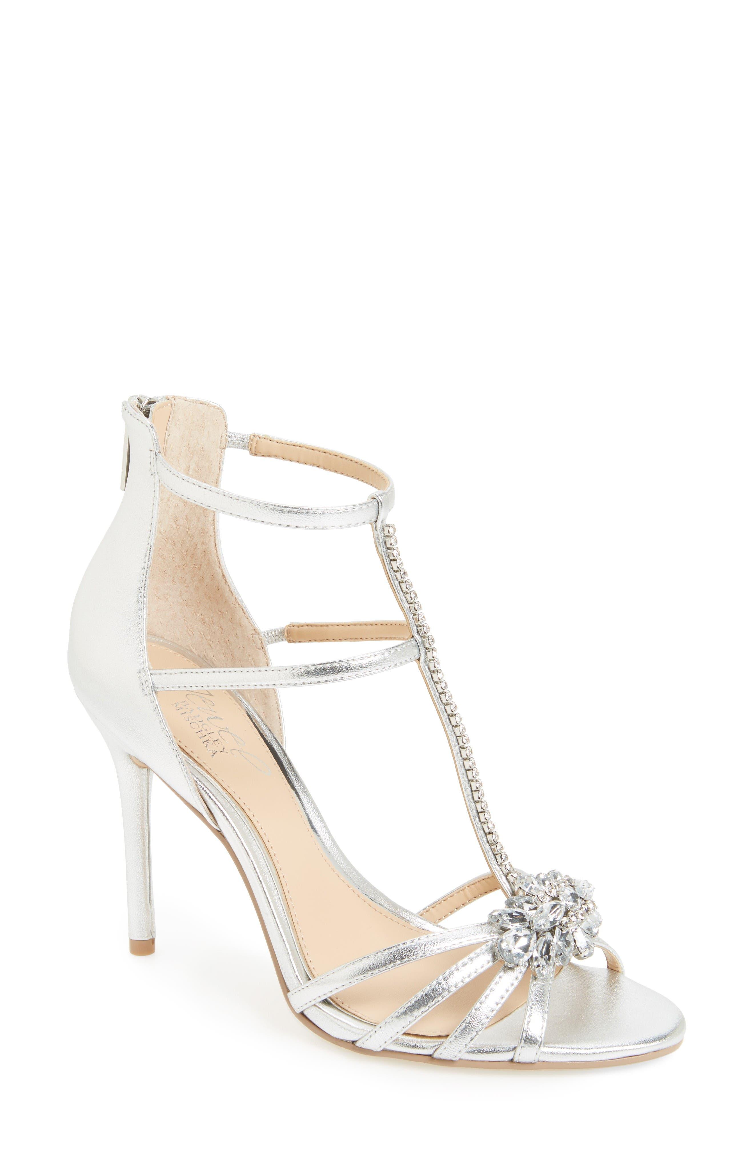 Jewel Badgley Mischka Hazel Embellished T-Strap Sandal (Women)