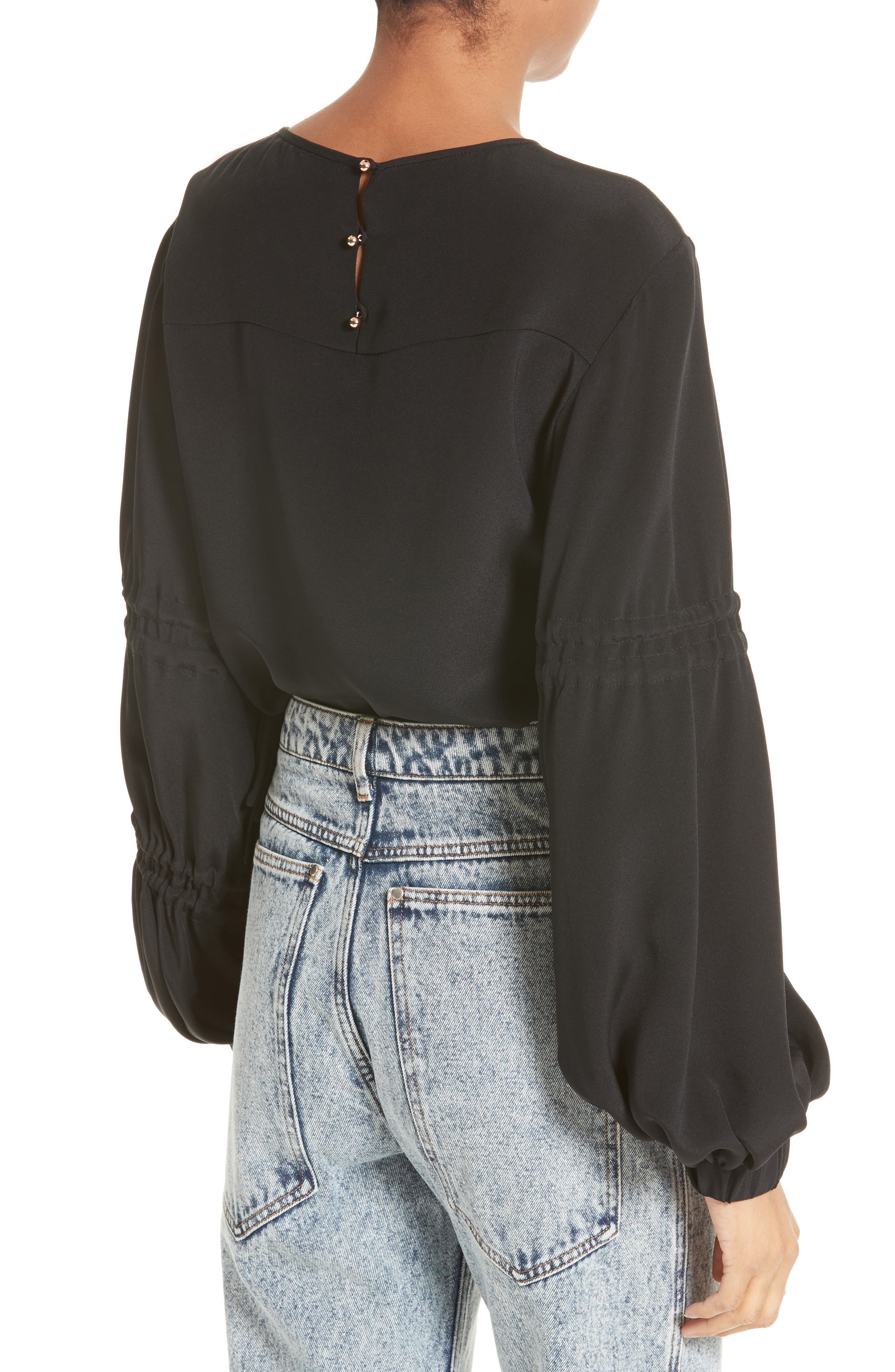 Alternate Image 2  - Tibi Bishop Sleeve Silk Blouse