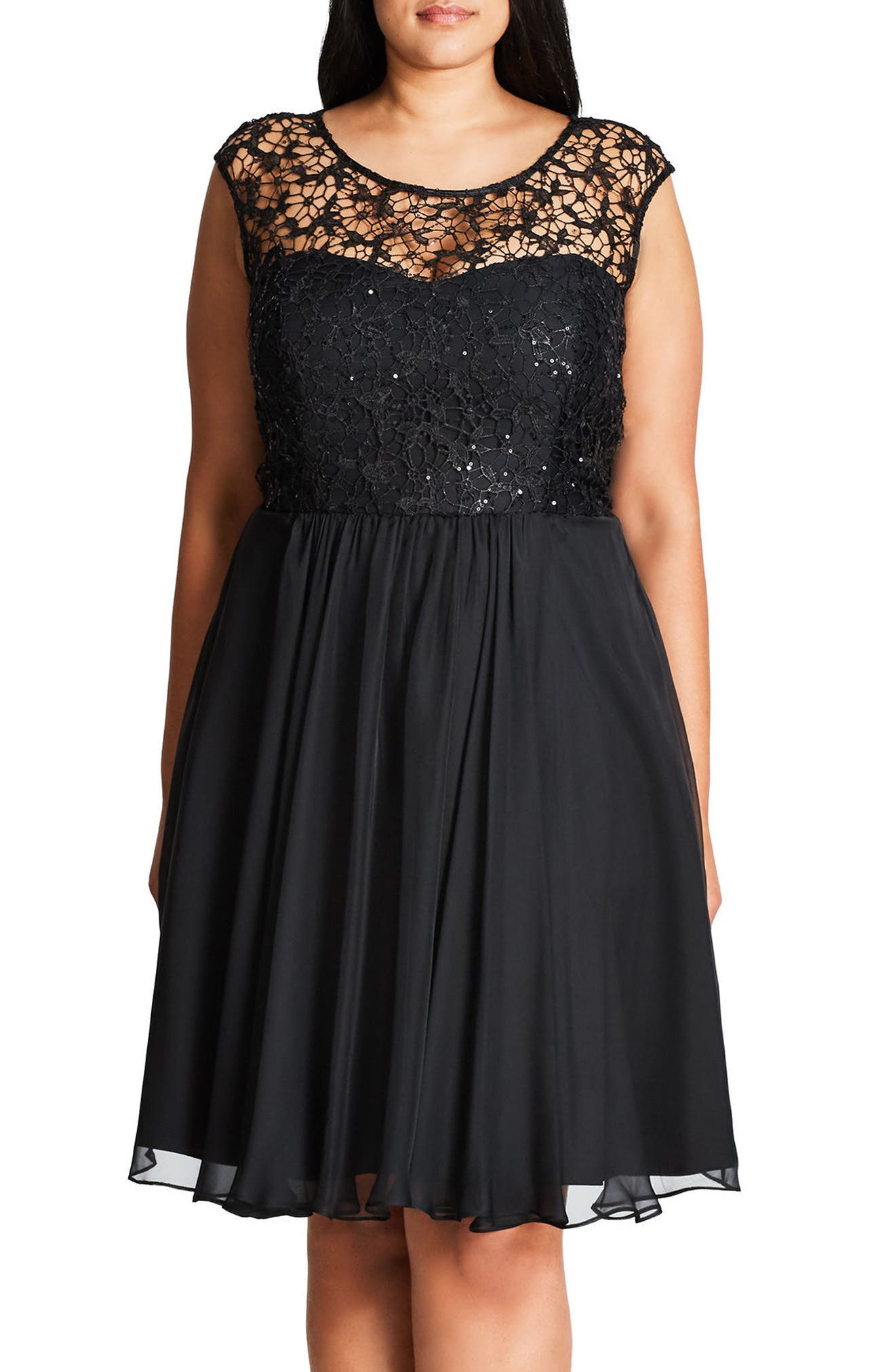 CITY CHIC Sequin Lace Fit & Flare Dress