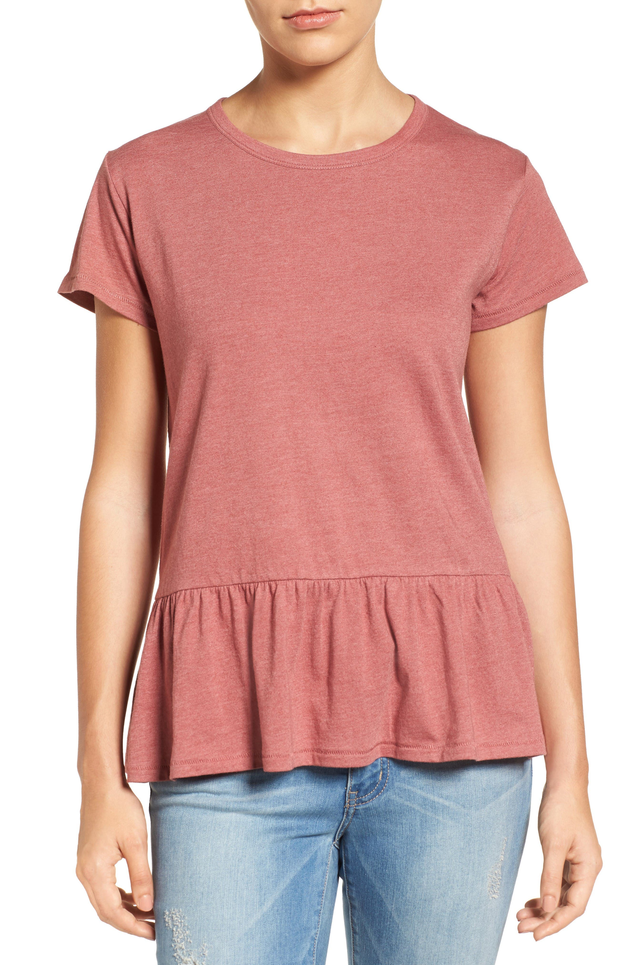 Alternate Image 1 Selected - Caslon® Peplum Tee (Regular & Petite)