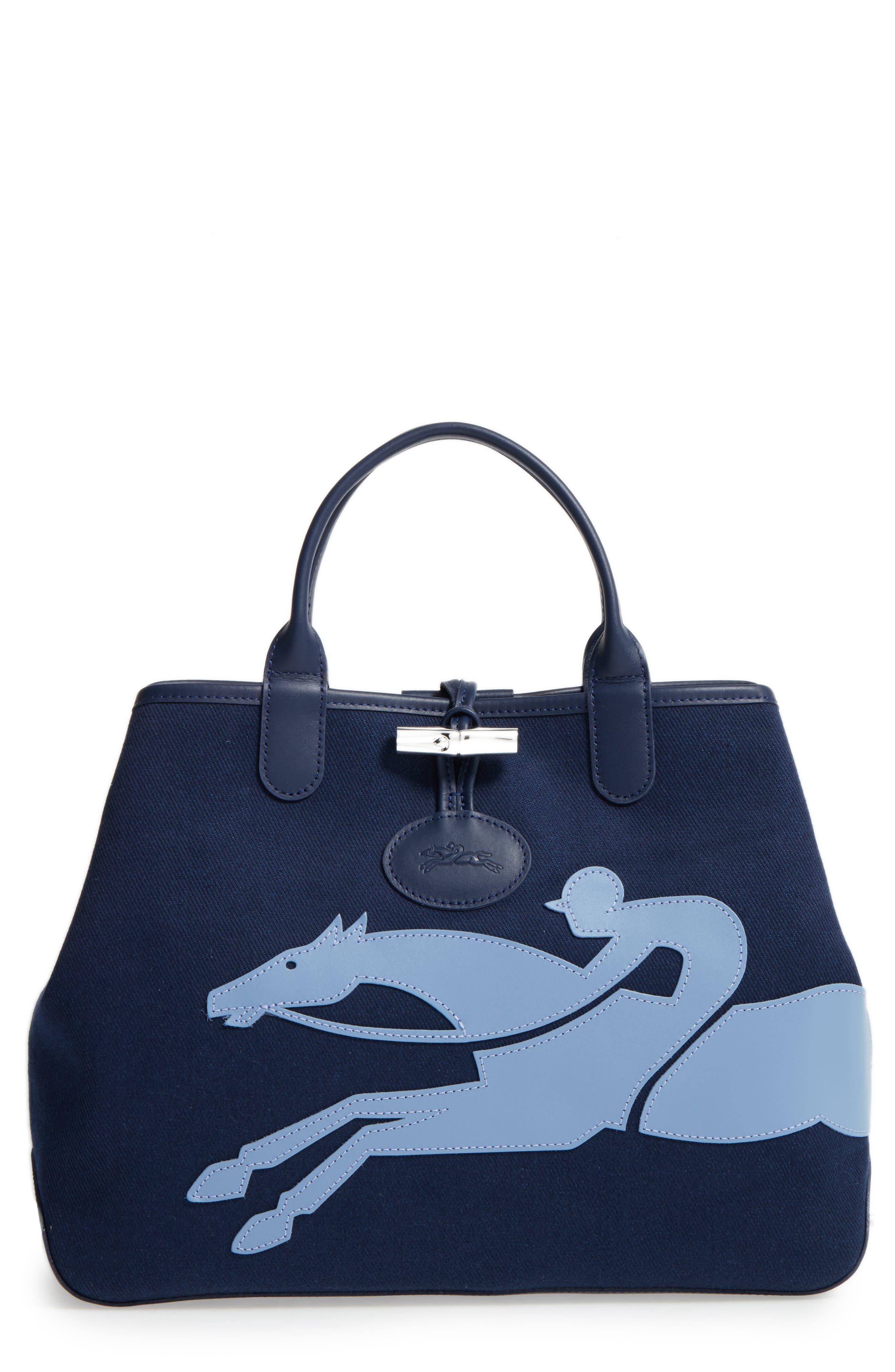 Main Image - Longchamp Roseau Medium Fleuri Reversible Canvas Tote