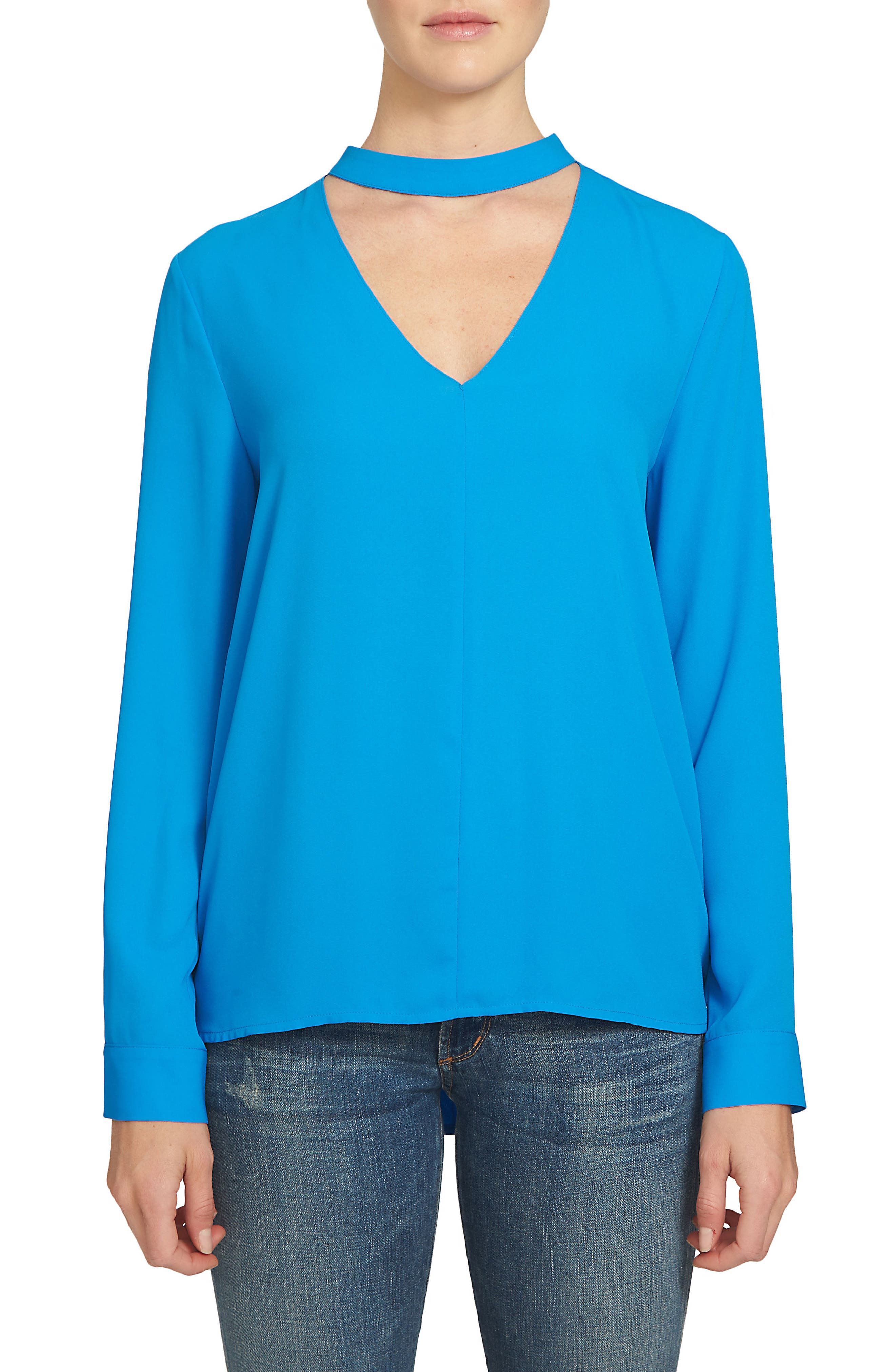 1.STATE Band Collar Blouse