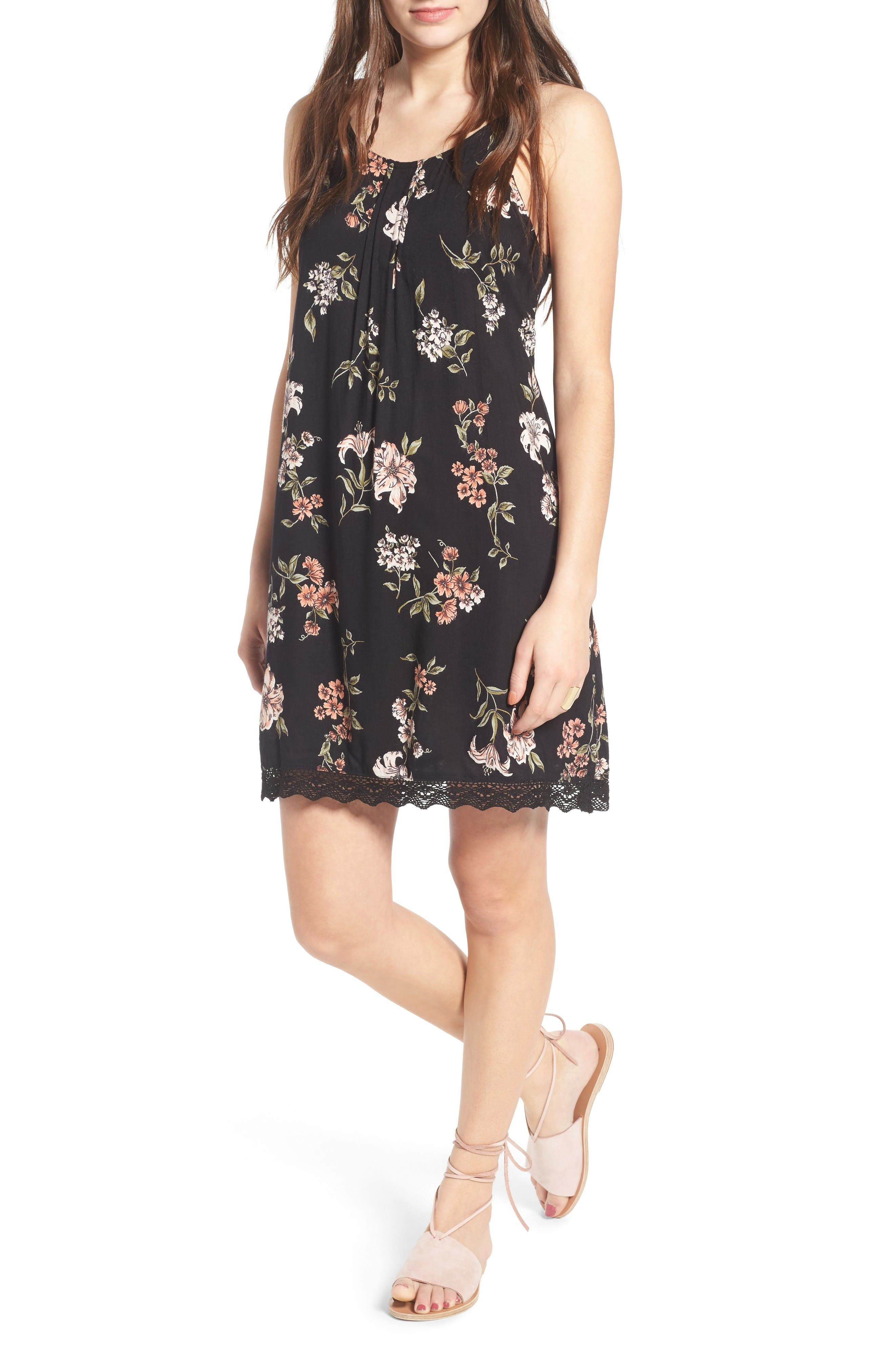 Alternate Image 1 Selected - Angie Floral Print Strappy Back Dress