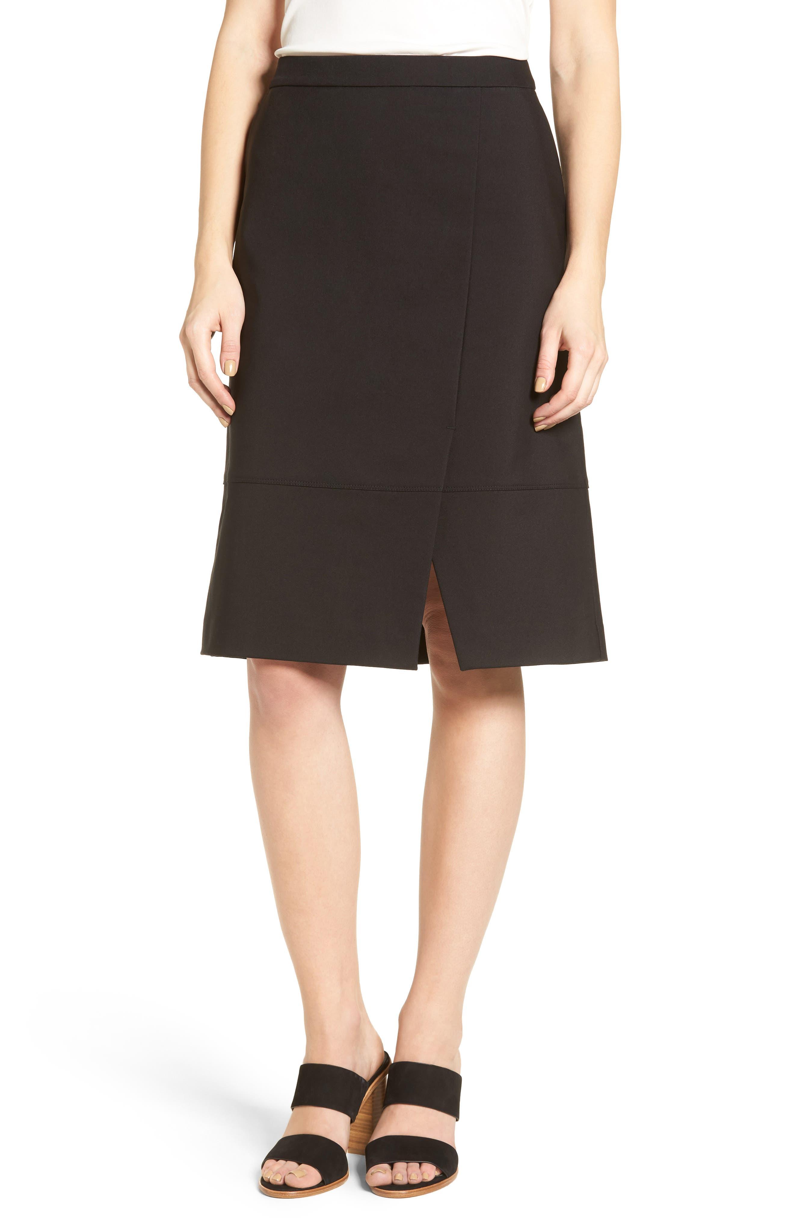 Halogen® Faux Wrap A-Line Skirt (Regular & Petite)