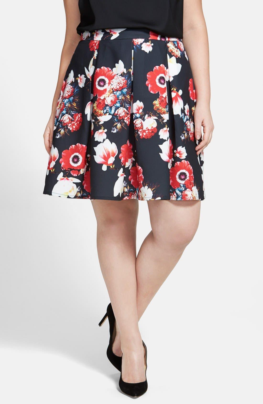 Alternate Image 1 Selected - City Chic 'Beautiful Bloom' Pleat Circle Skirt (Plus Size)