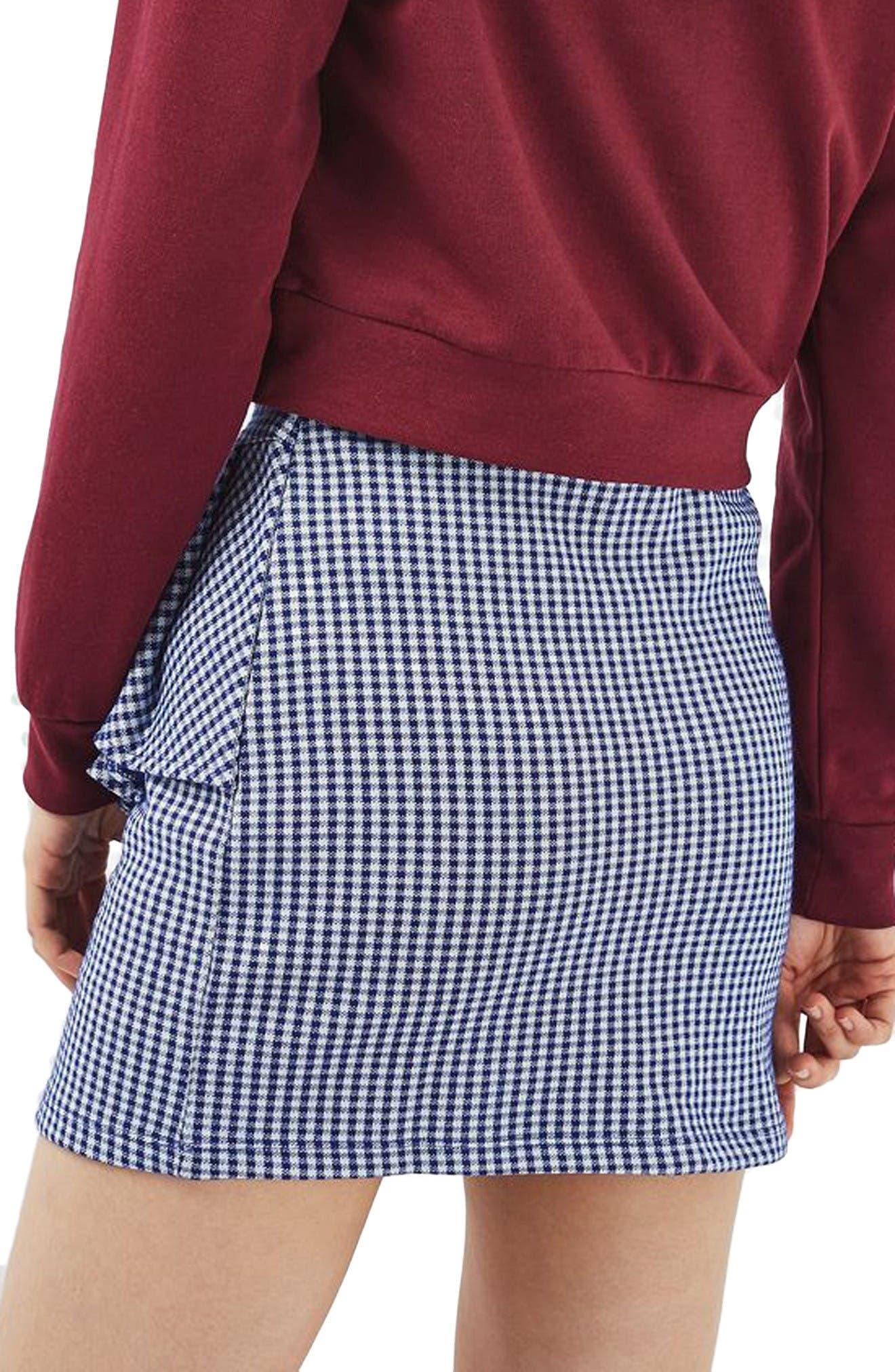Alternate Image 3  - Topshop Gingham Ruffle Miniskirt