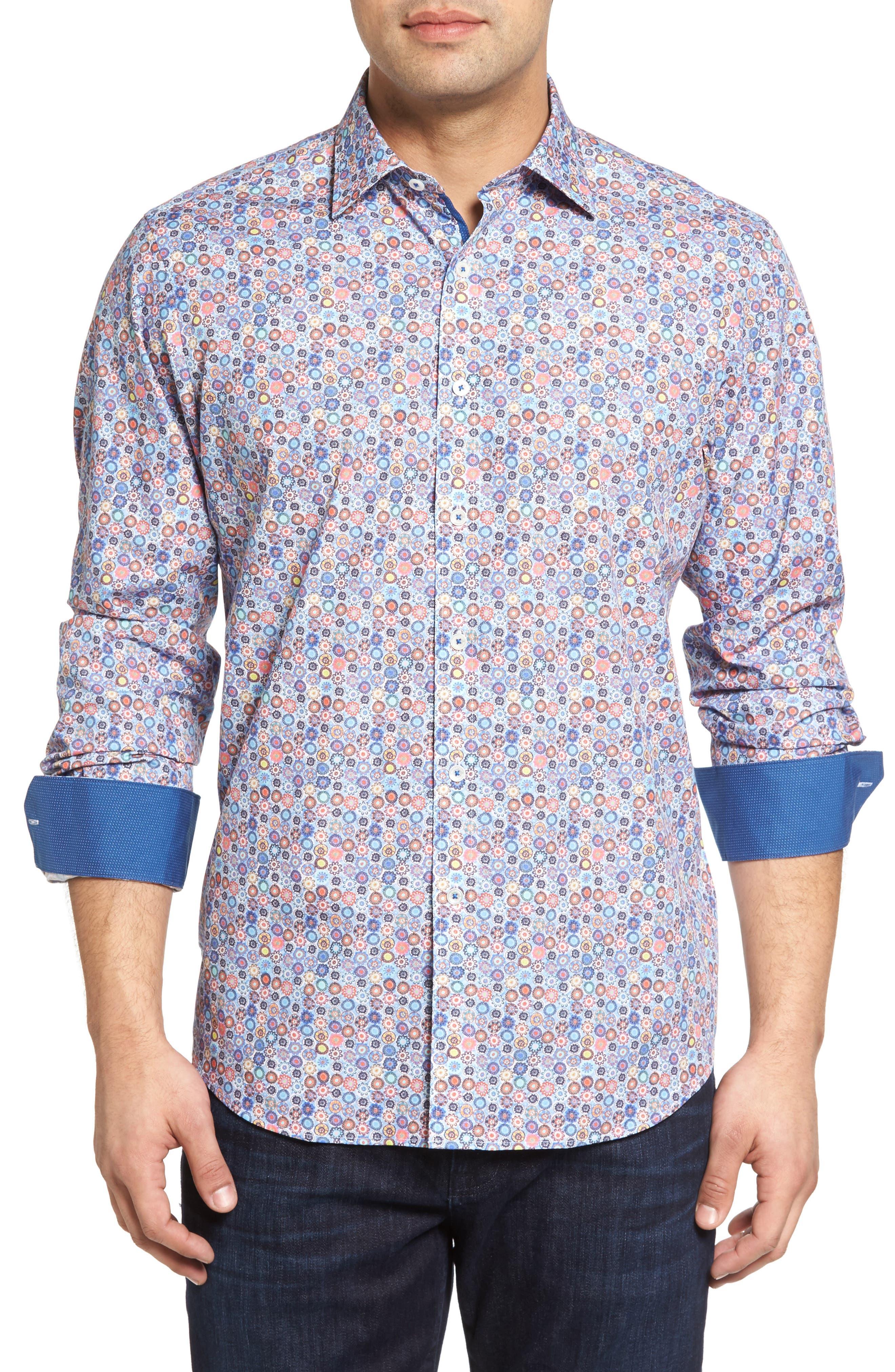 BUGATCHI Classic Fit Floral Medallion Sport Shirt