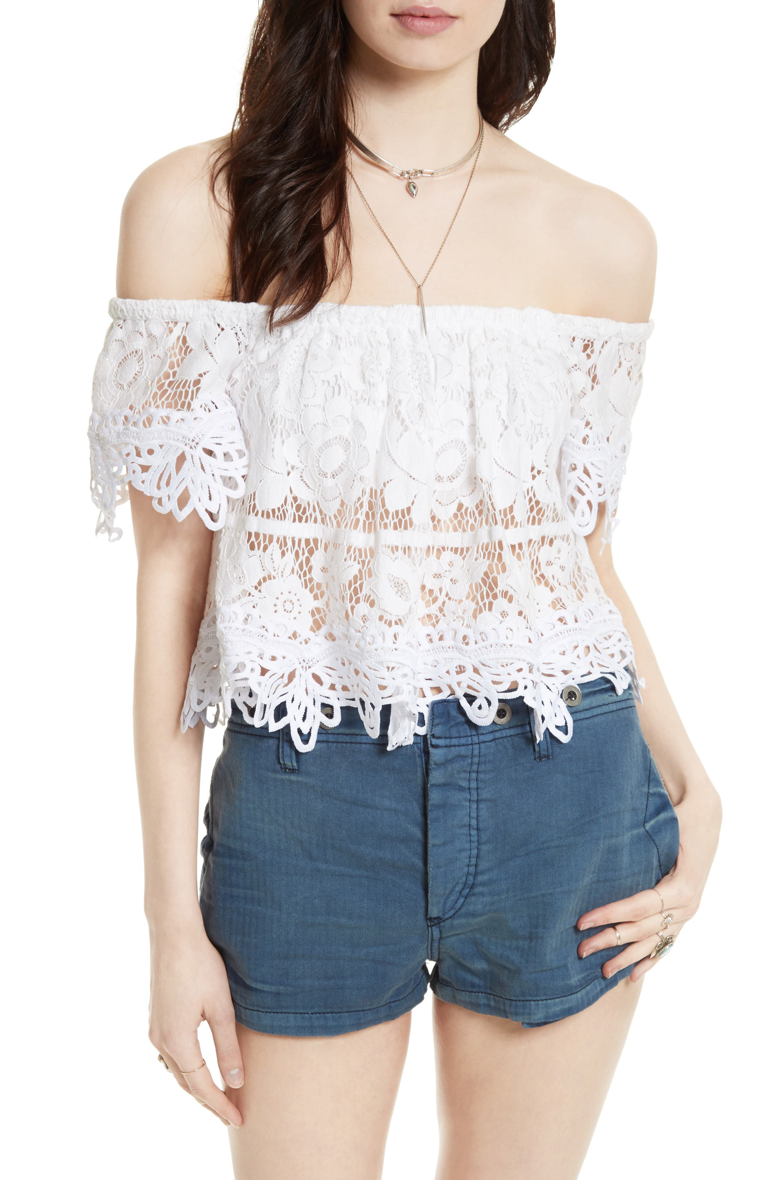 Alternate Image 1 Selected - Free People Lace Off the Shoulder Tank