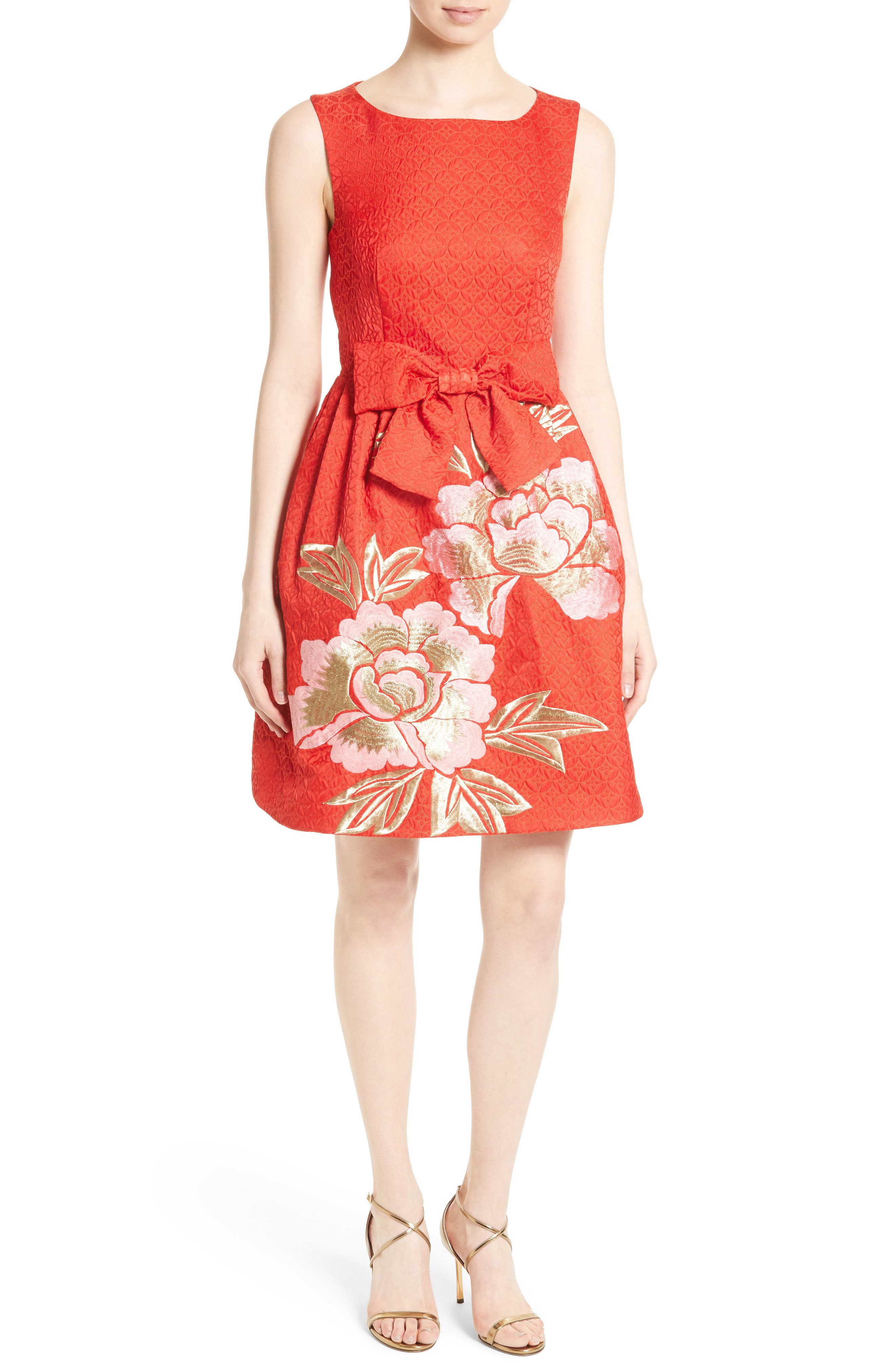 Ted Baker London Deemey Embroidered Jacquard Party Dress