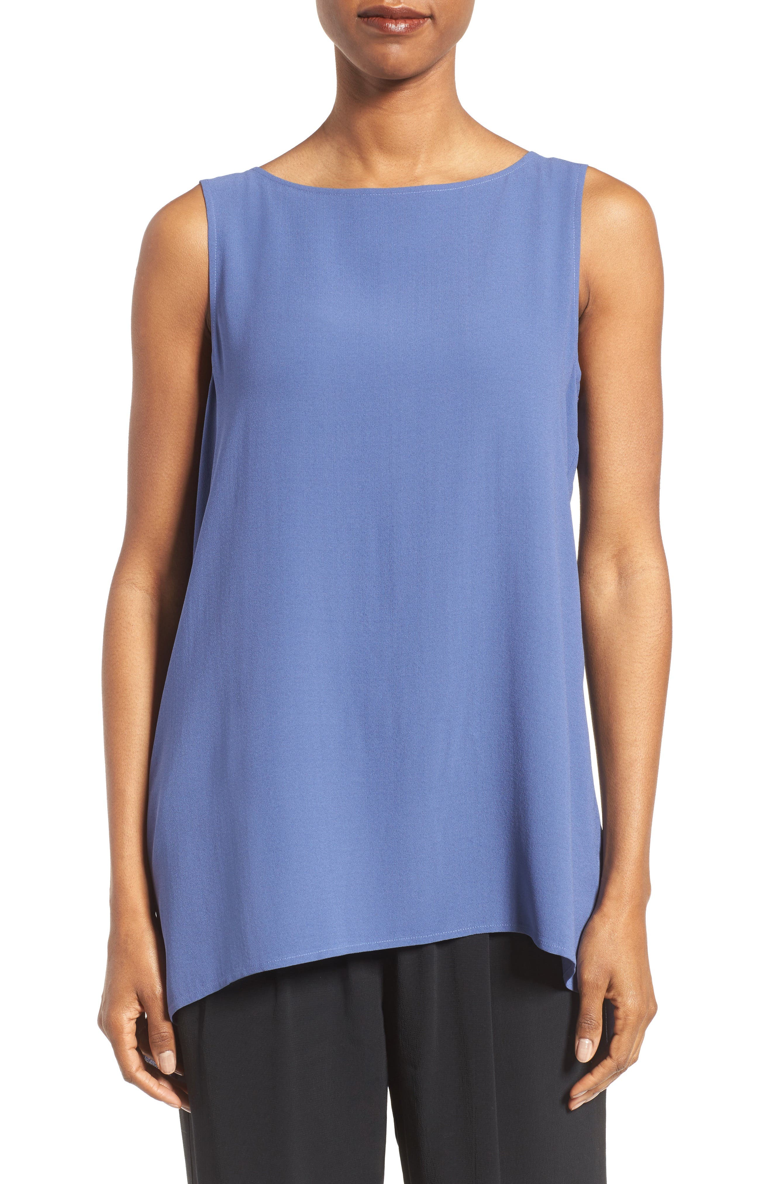 Eileen Fisher Long Bateau Neck Silk Shell (Regular & Petite)