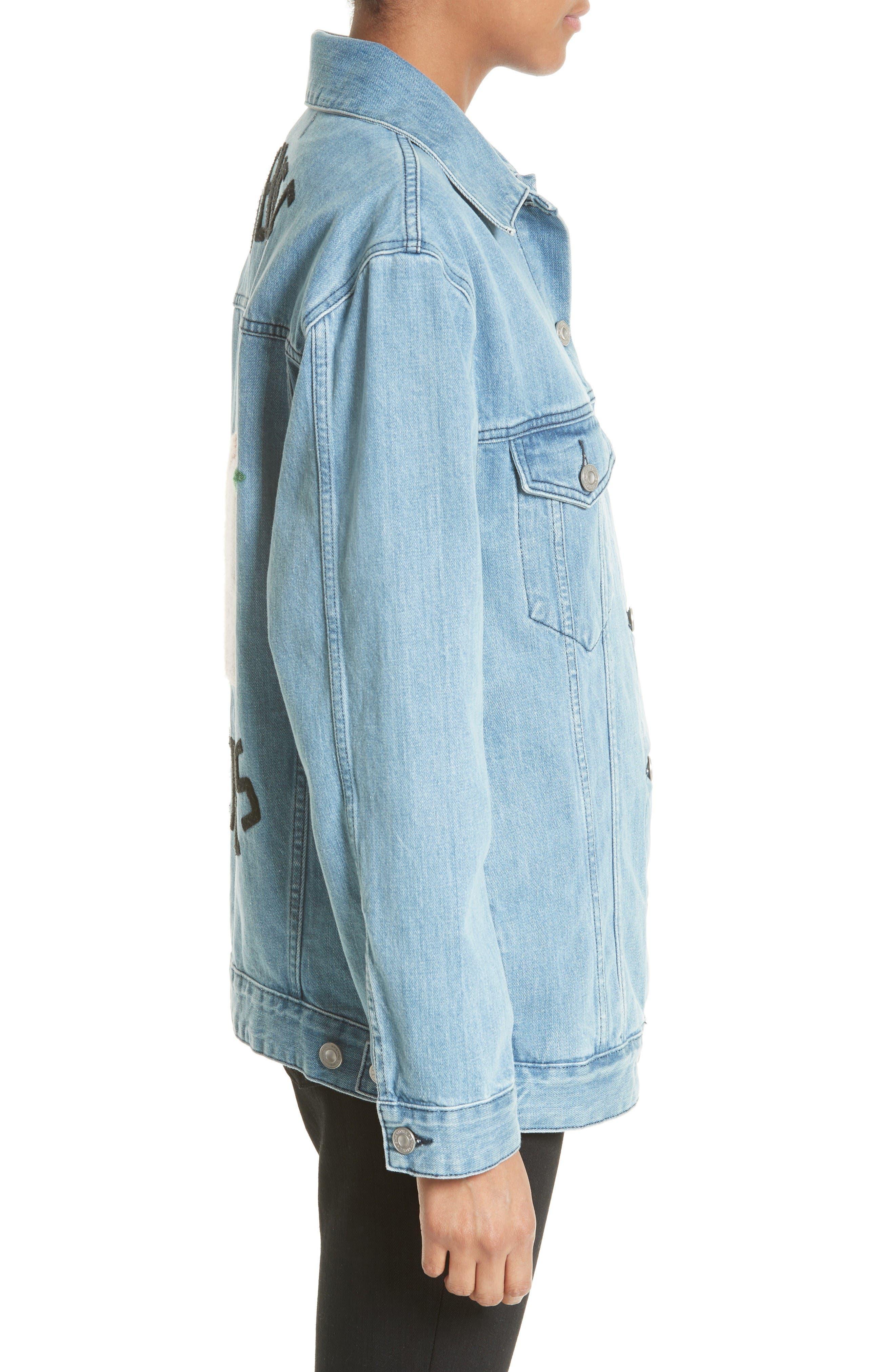 Alternate Image 3  - être cécile Venice Peaches Oversize Denim Jacket