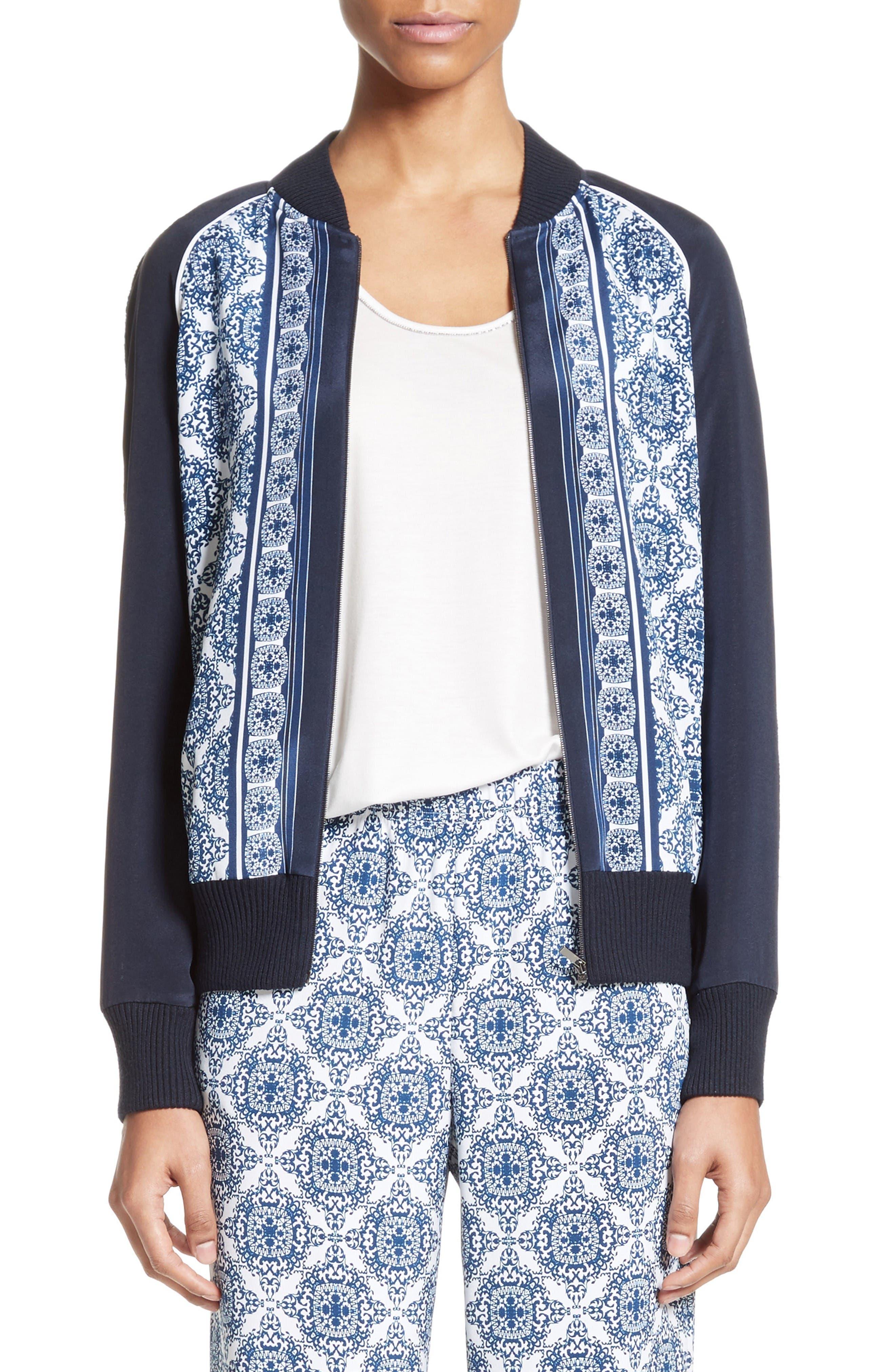 Main Image - St. John Collection Kali Tile Print Stretch Silk Crêpe de Chine Bomber Jacket