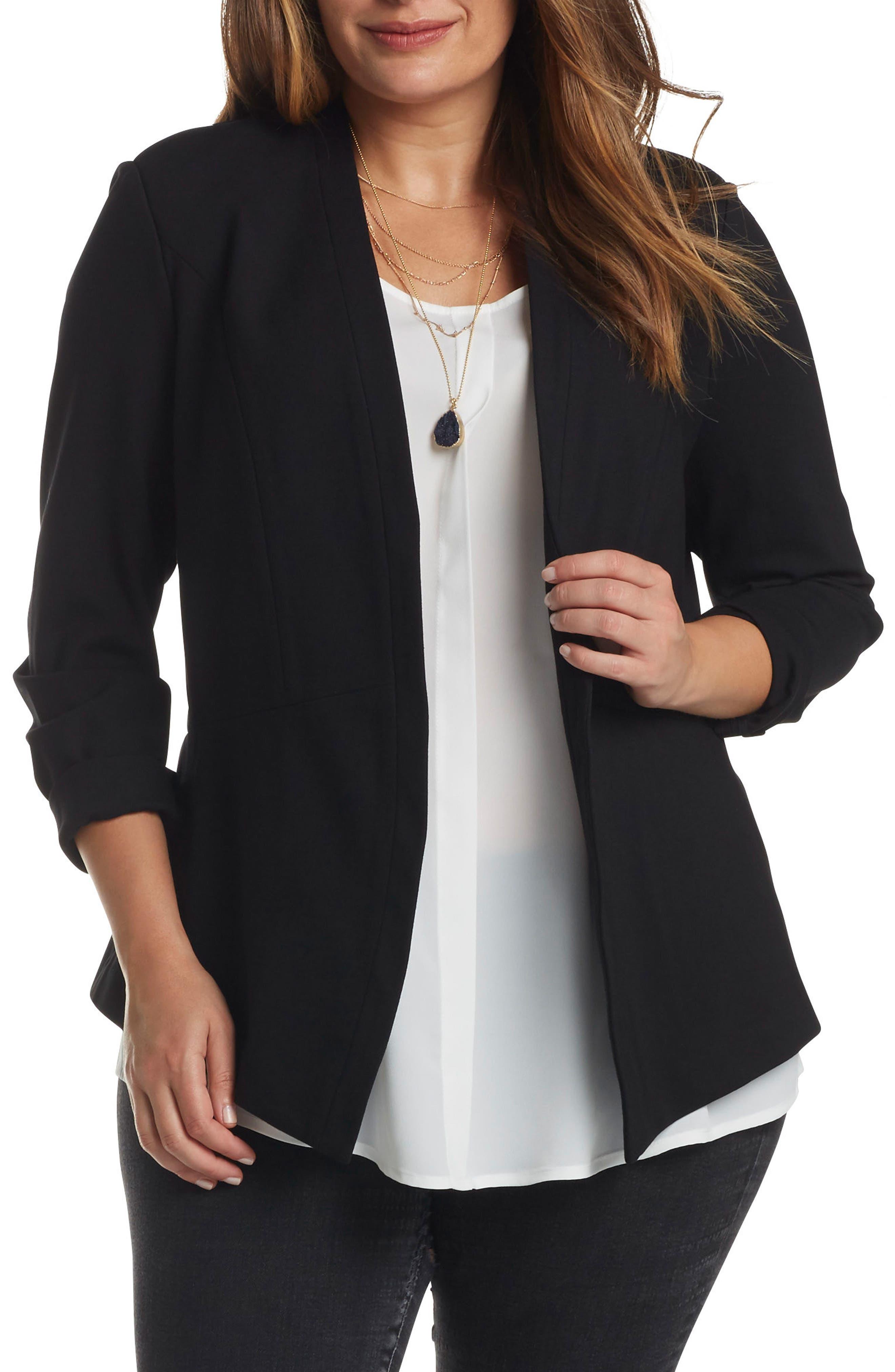 Main Image - Tart 'Annabella' Open Front Blazer (Plus Size)