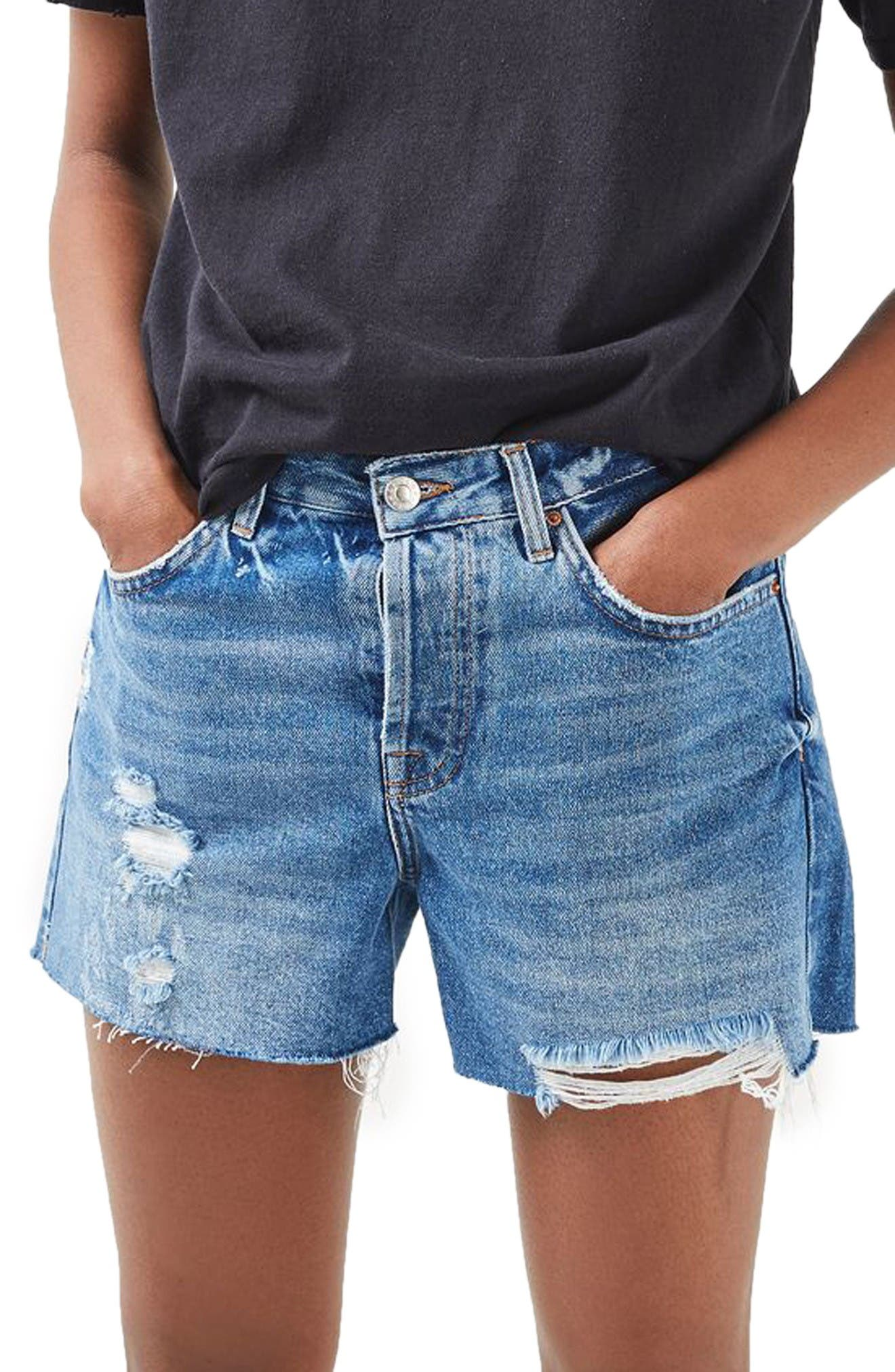 Alternate Image 1 Selected - Topshop Ashley Ripped Boyfriend Shorts (Regular & Petite)