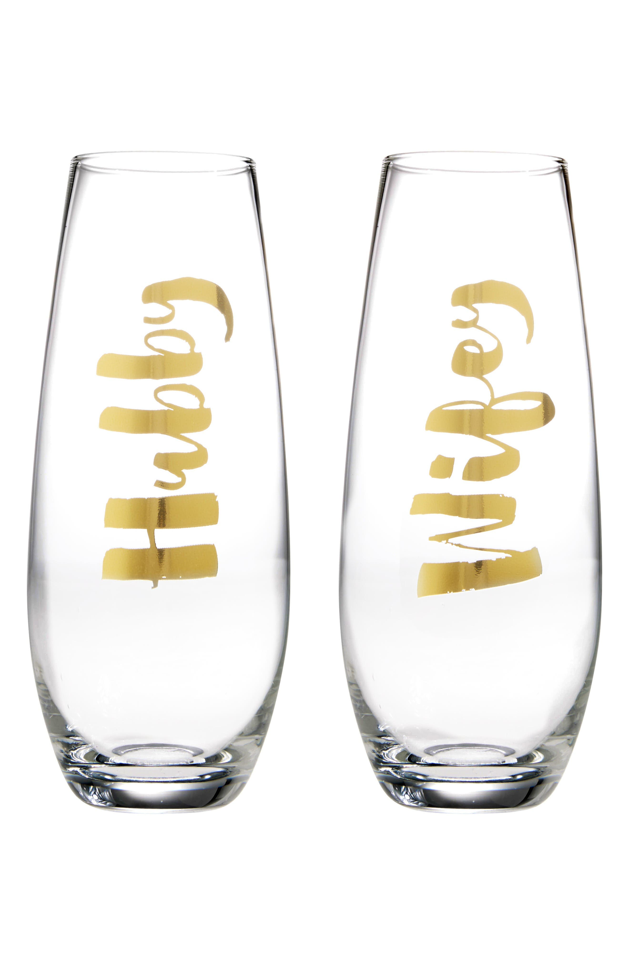 Slant Collections Hubby/Wifey Set of 2 Stemless Champagne Glasses