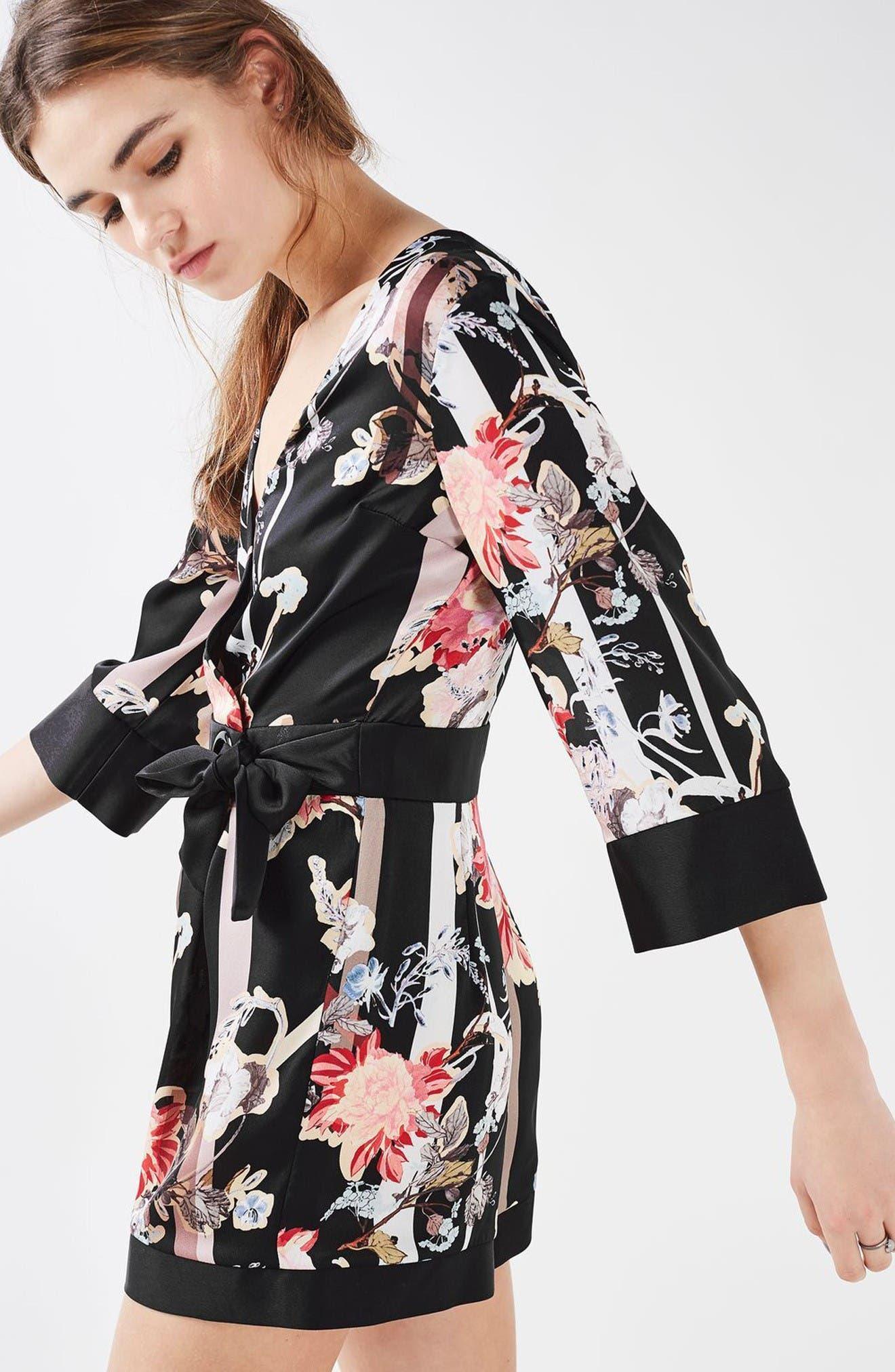 Alternate Image 2  - Topshop Tokyo Floral Wrap Romper