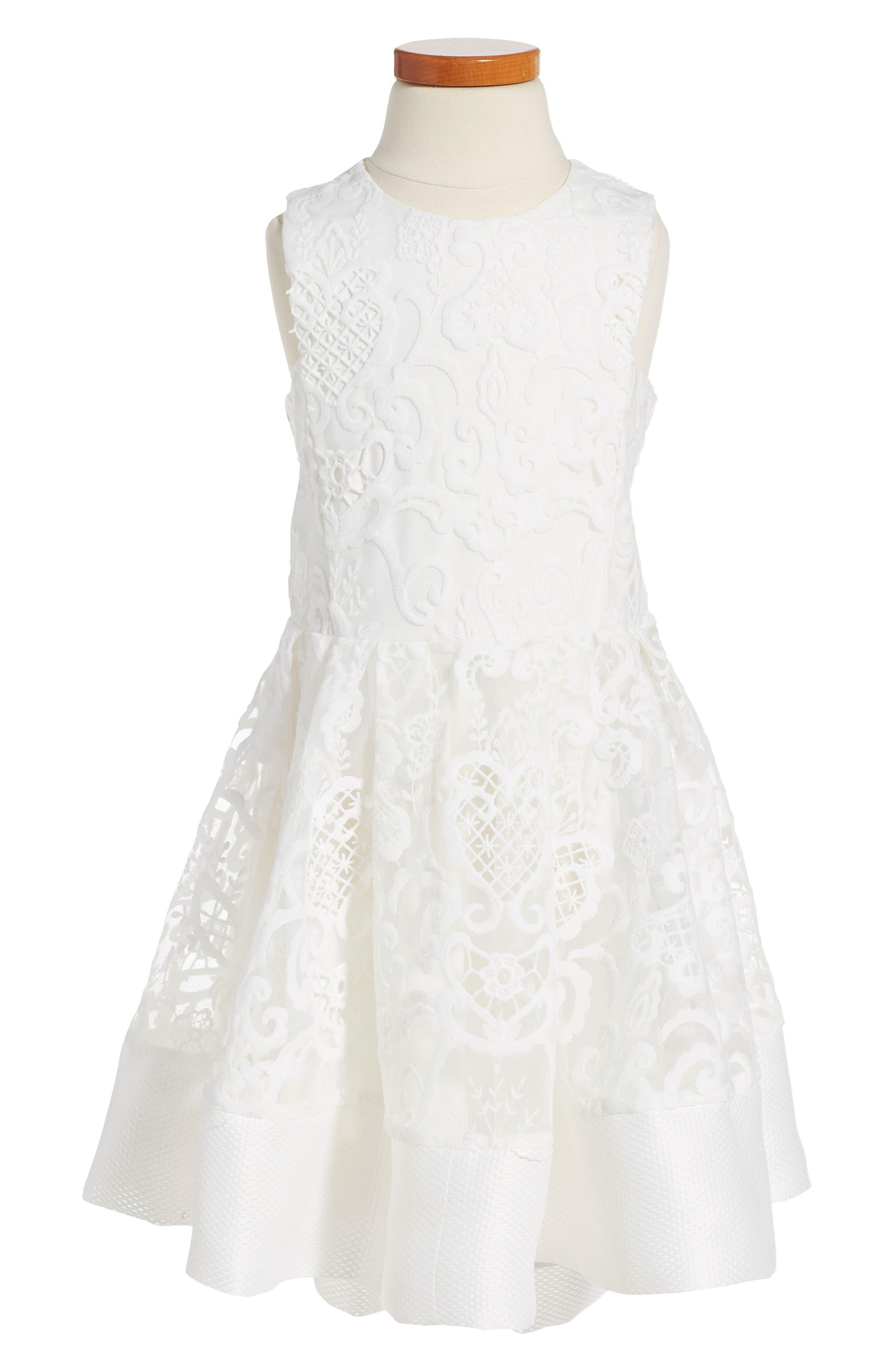 BARDOT JUNIOR Debut Embroidered Fit & Flare Dress