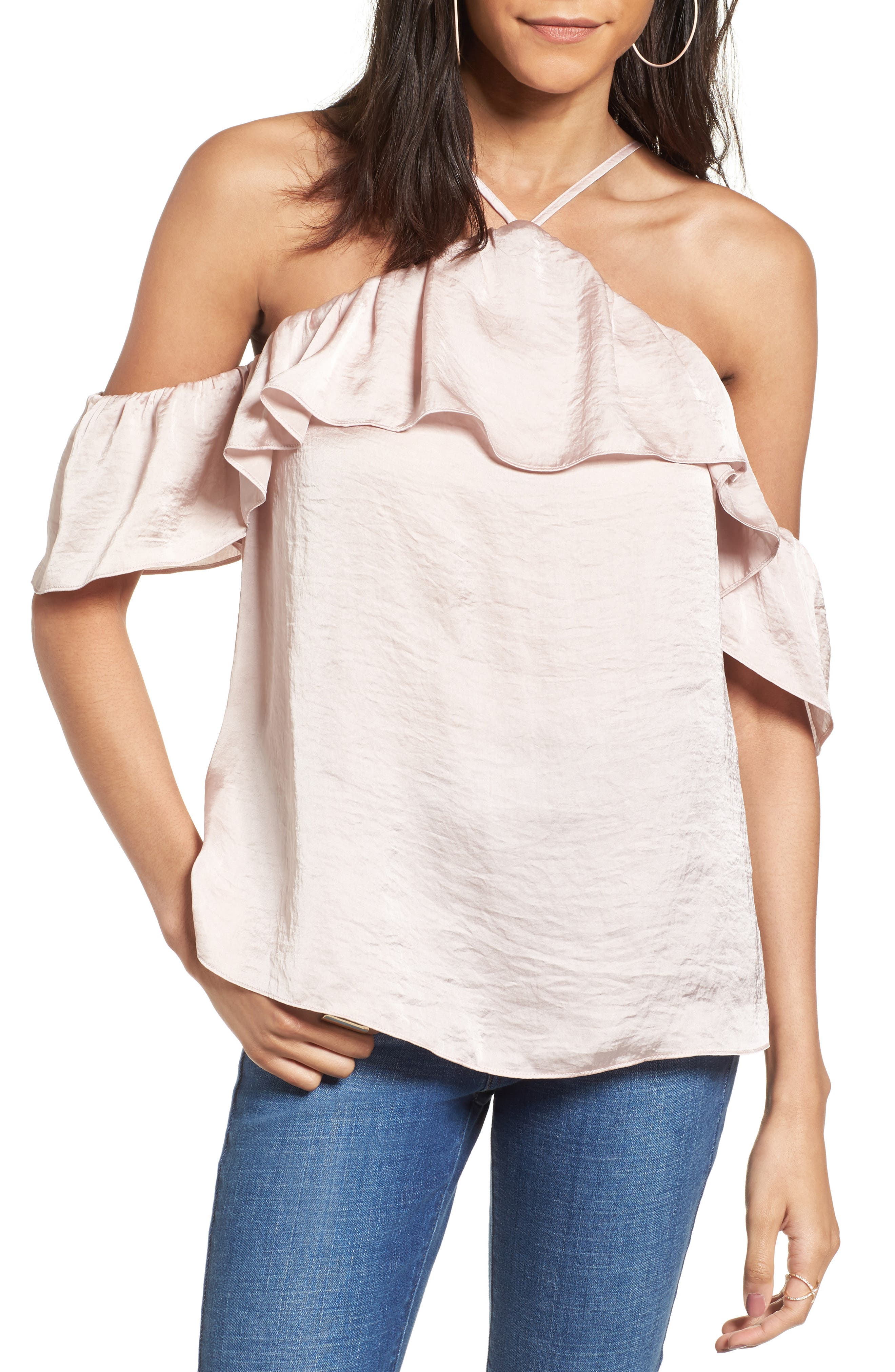 Alternate Image 1 Selected - Ten Sixty Sherman Satin Cold Shoulder Top