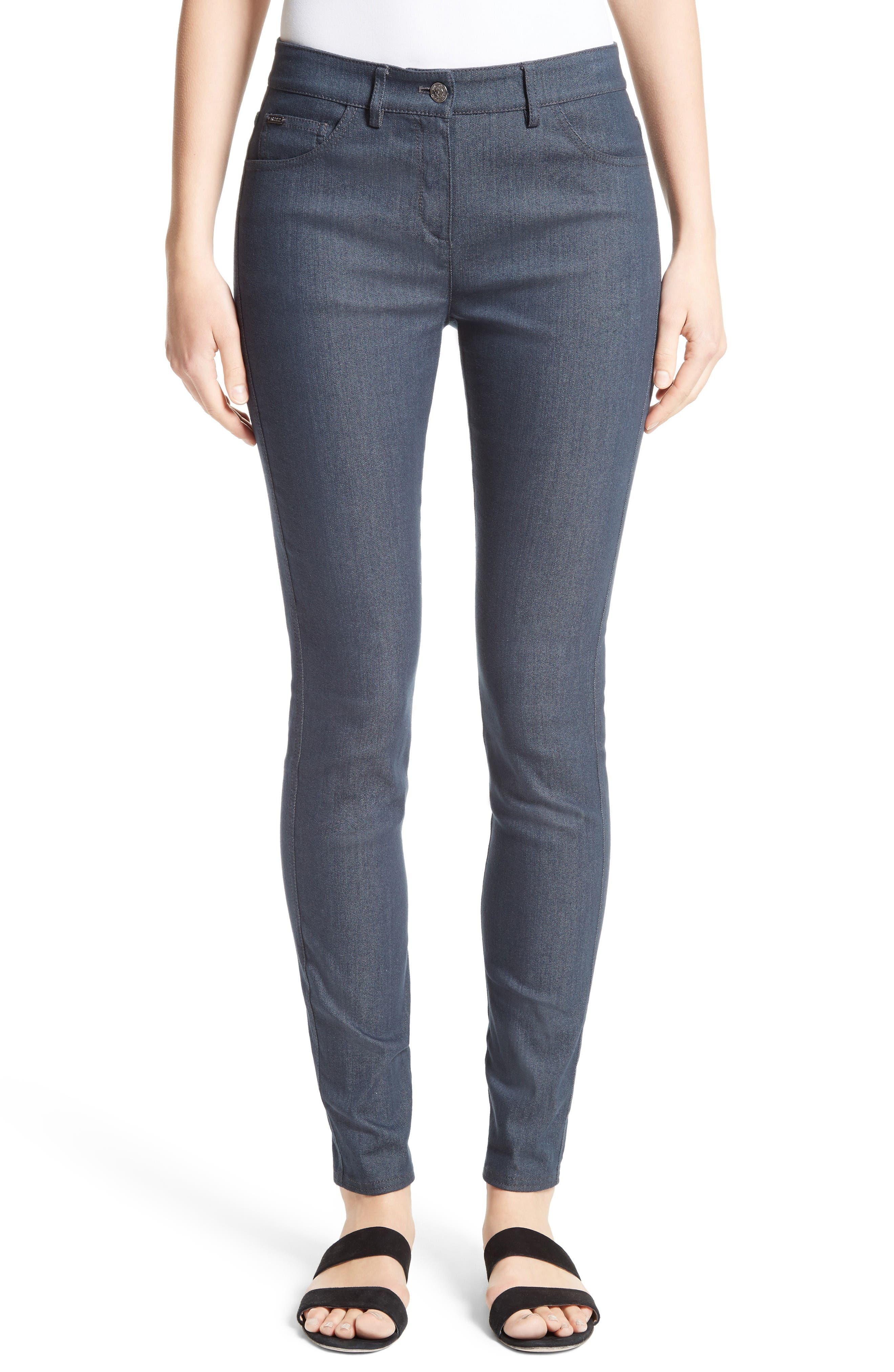 St. John Collection Stretch Denim Slim Ankle Pants