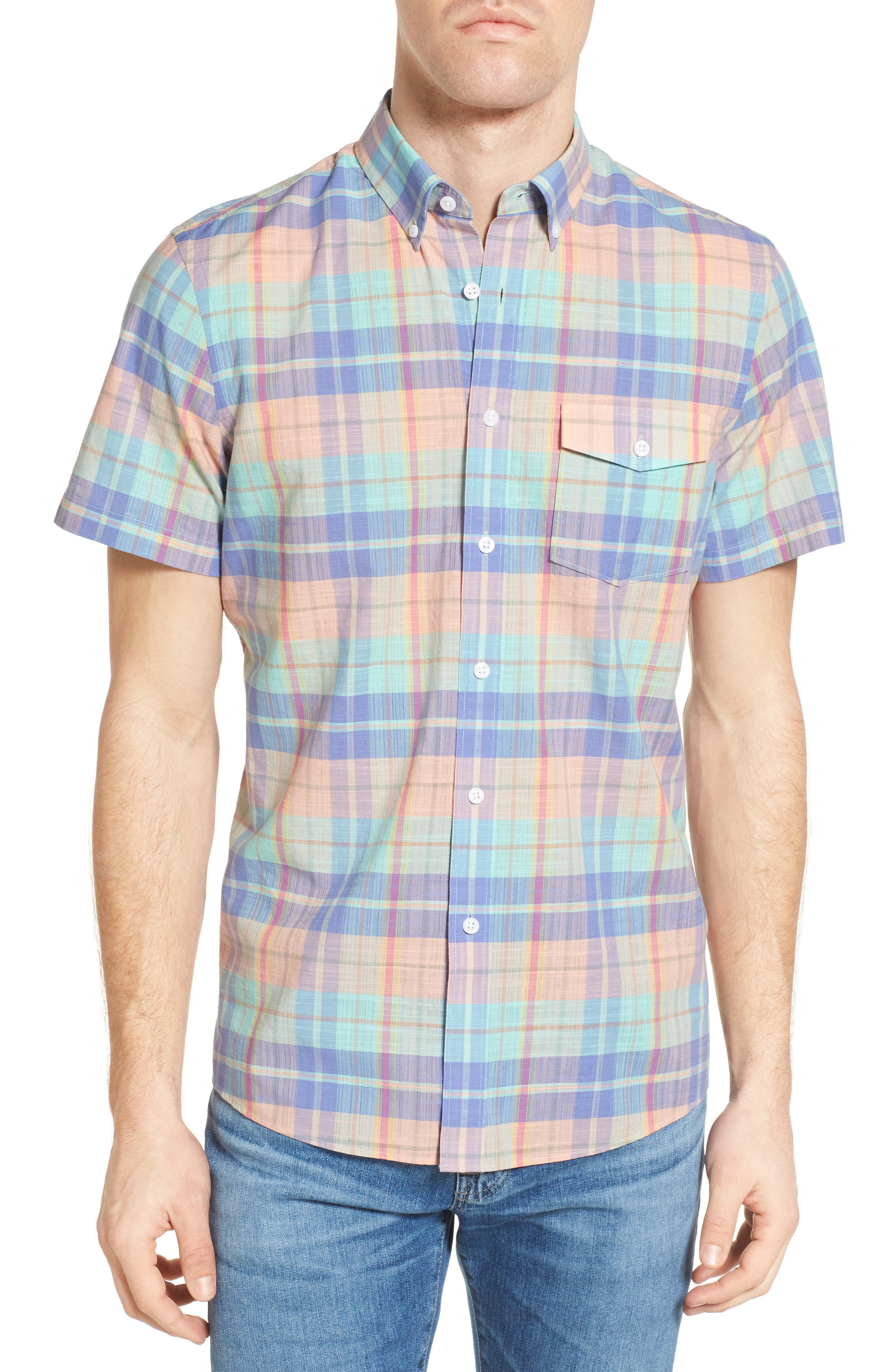 Nordstrom Men's Shop Slim Fit Plaid Sport Shirt