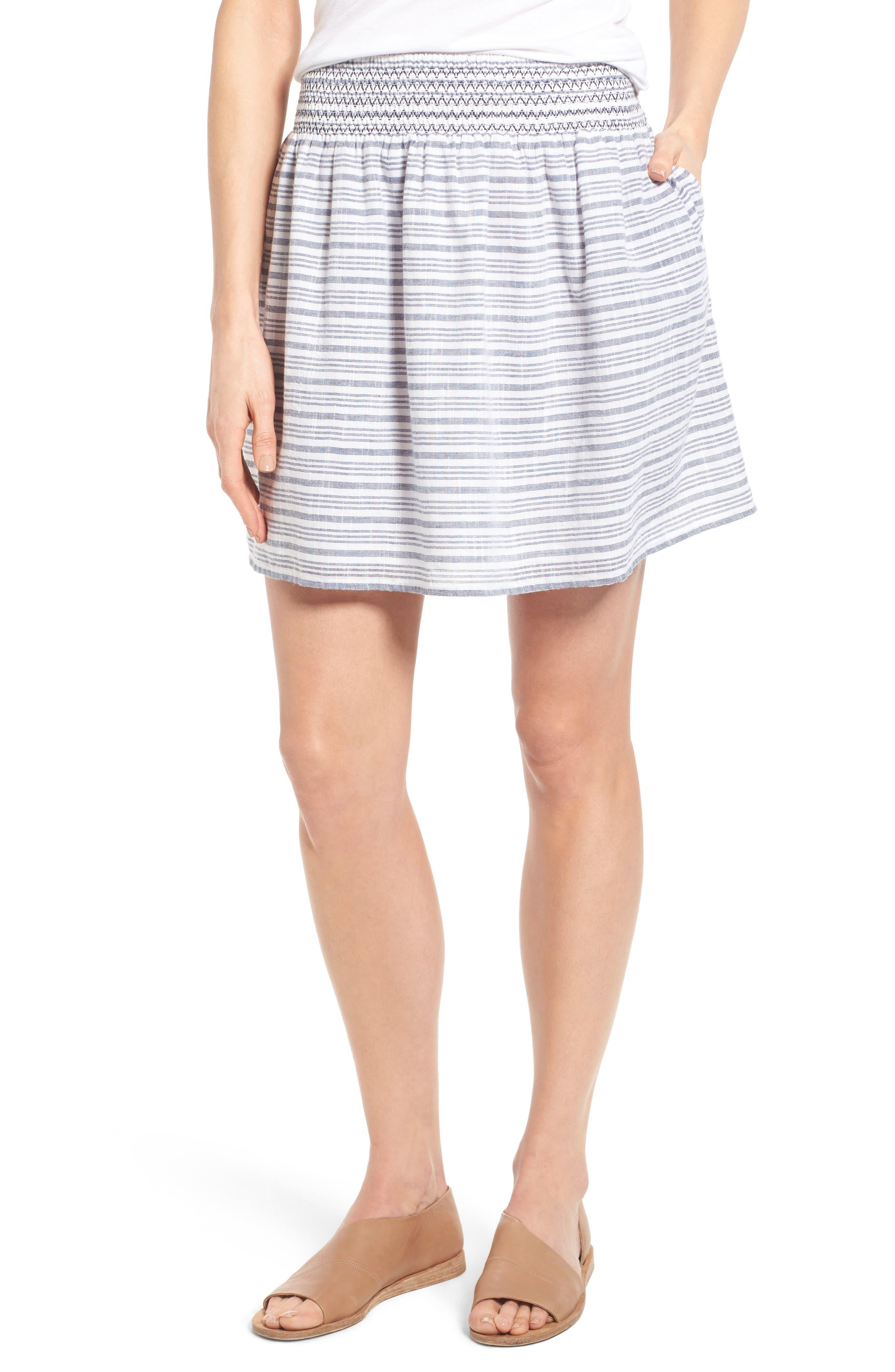 Caslon® Smocked Cotton Skirt (Regular & Petite)