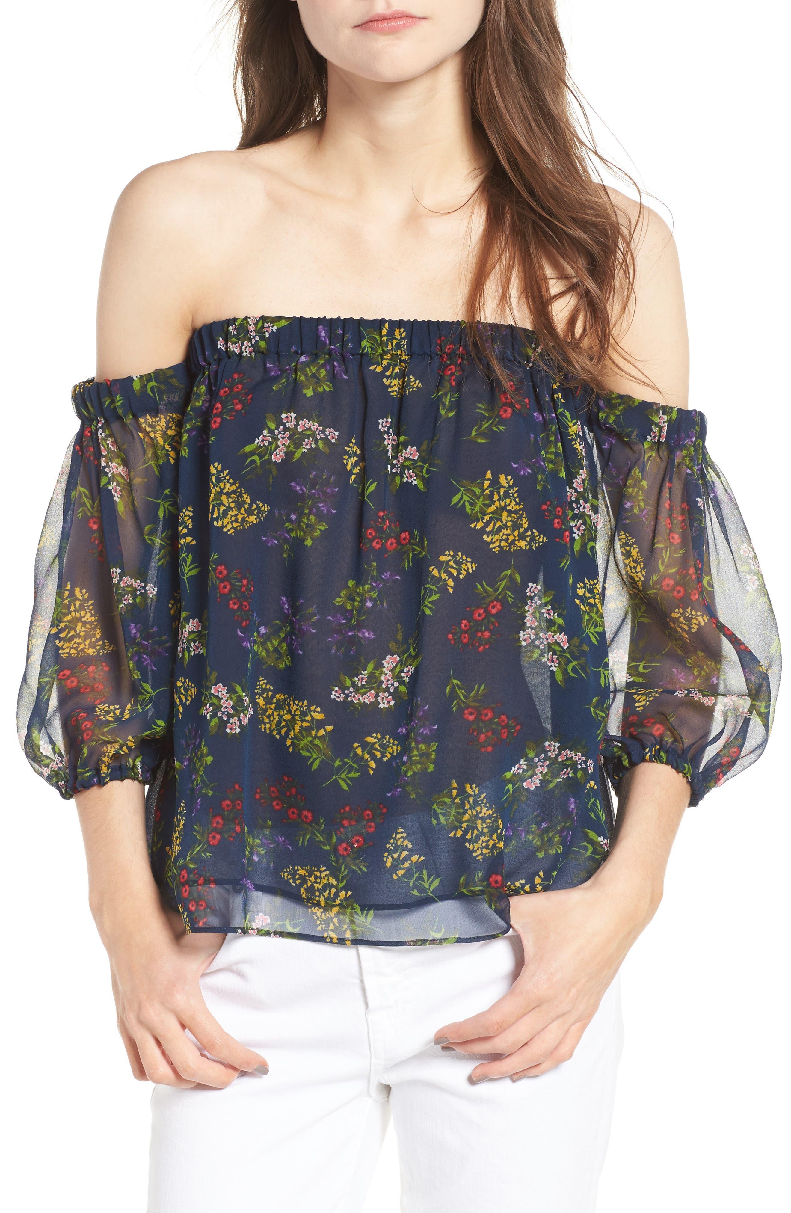 ELLA MOSS Poetic Garden Off the Shoulder Silk