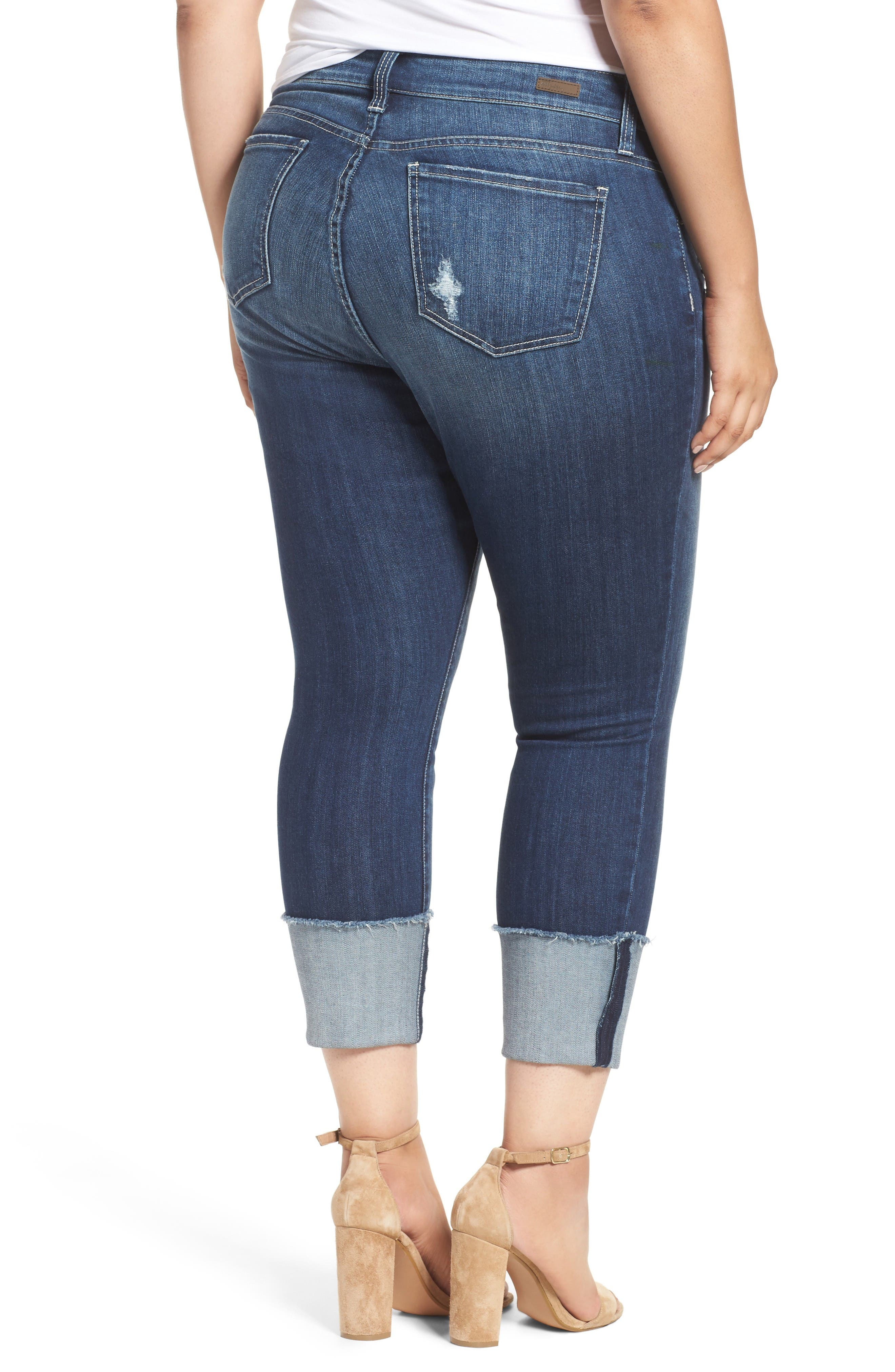 Alternate Image 2  - KUT from the Kloth Cameron Cuffed Straight Leg Jeans (Arresting) (Plus Size)