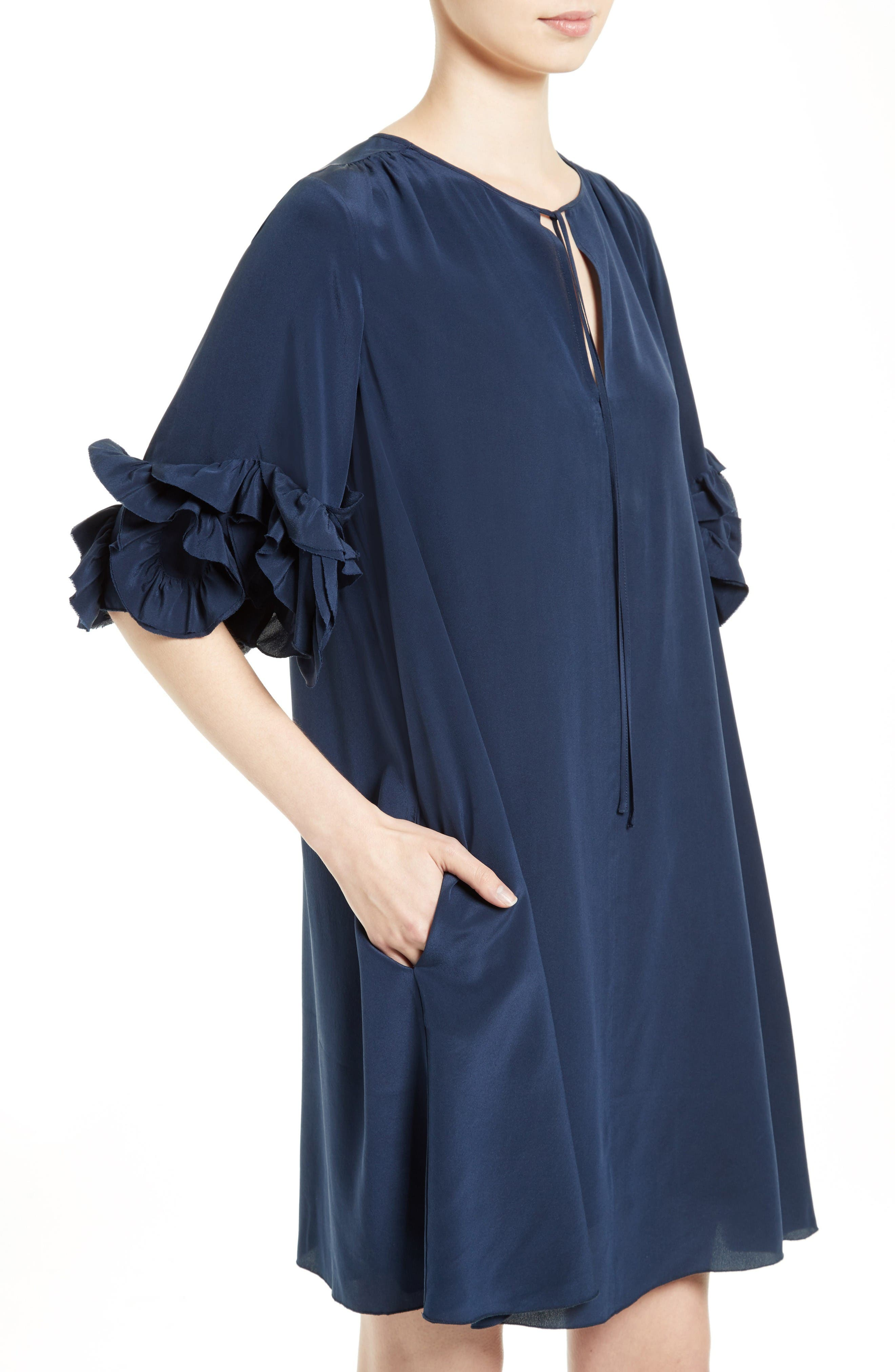 Alternate Image 4  - See by Chloé Ruffle Silk Shift Dress
