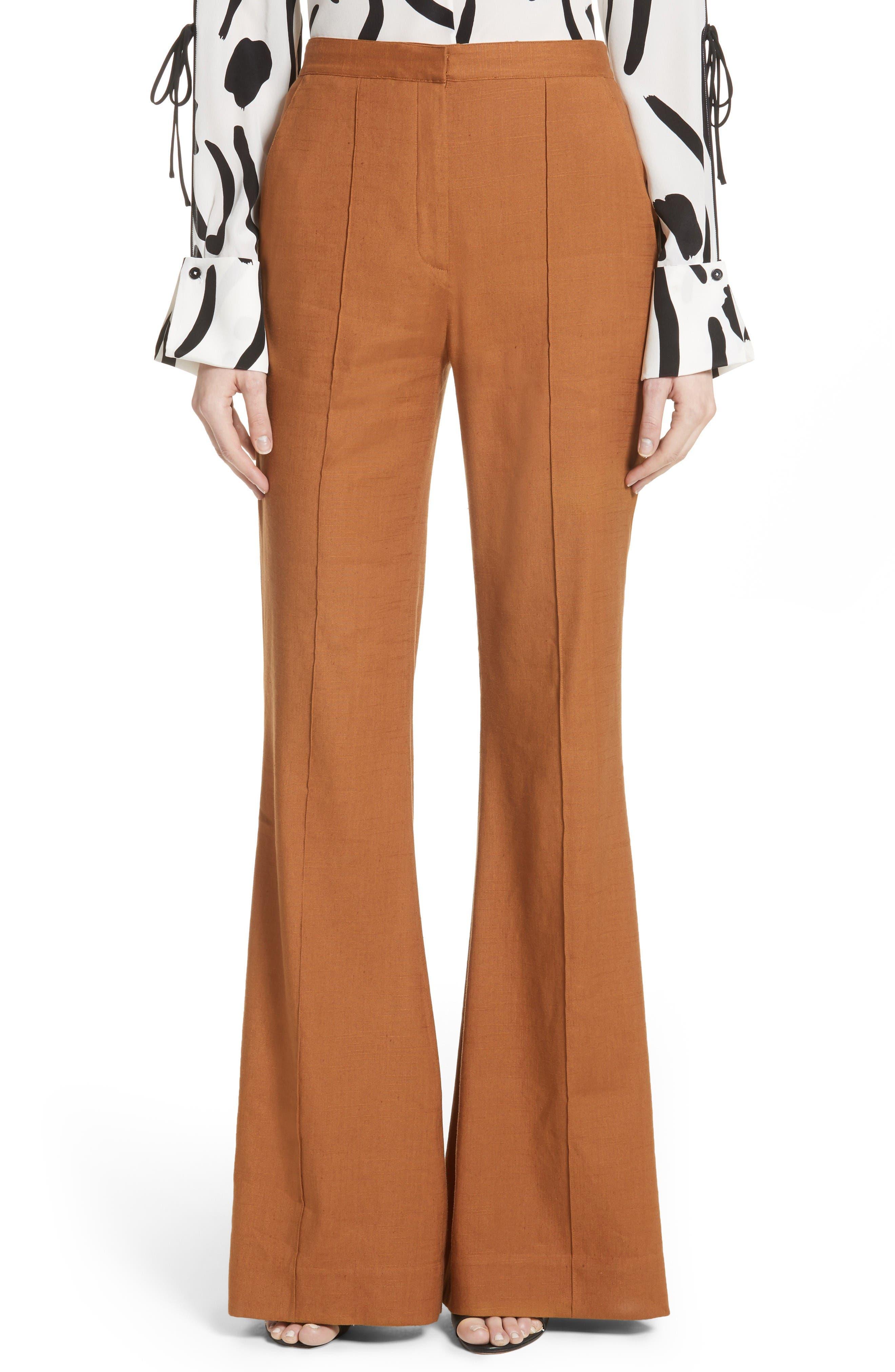 Diane von Furstenberg Pleat Front Flare Leg Pants