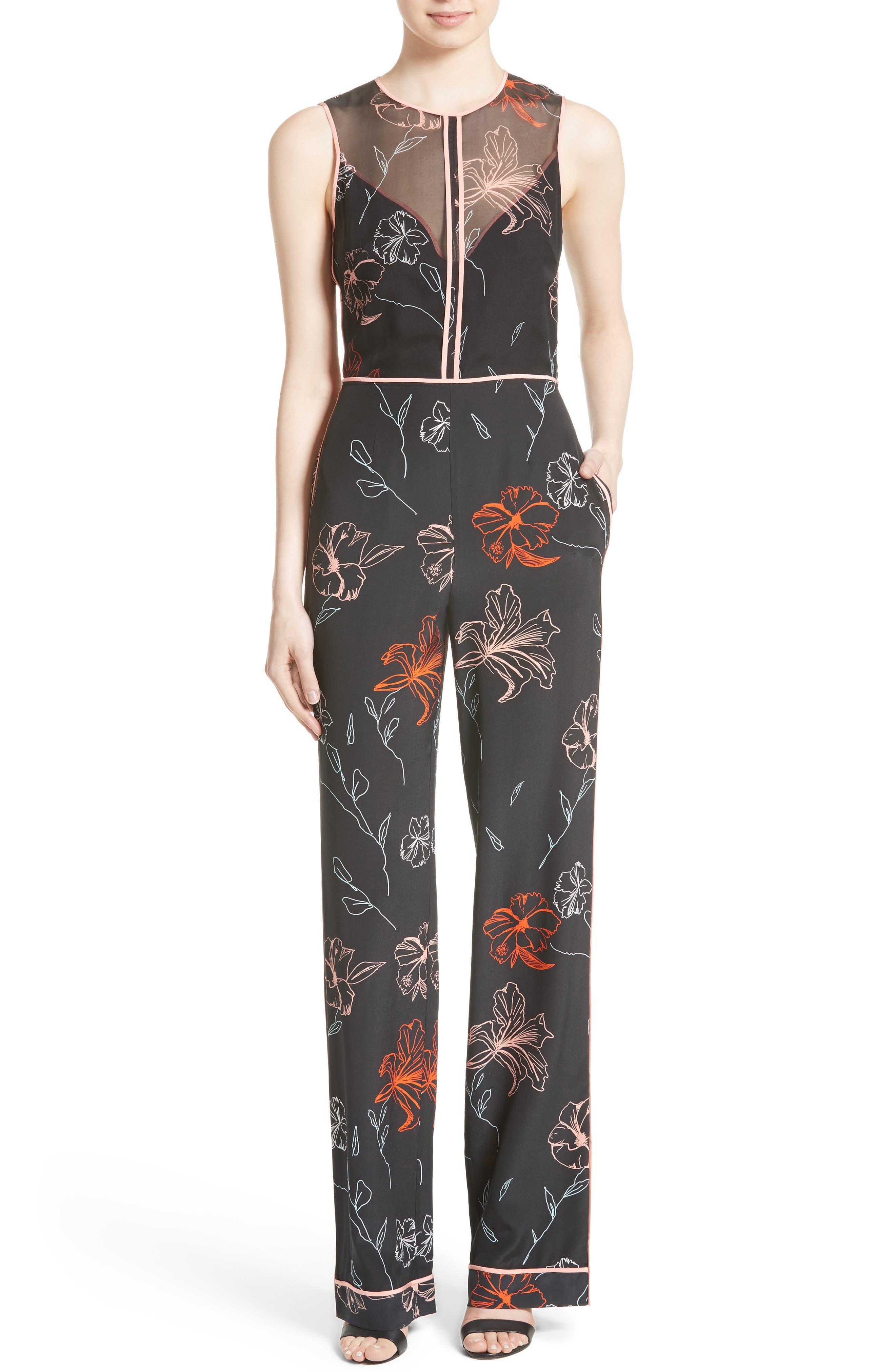 Diane von Furstenberg Floral Print Silk Jumpsuit