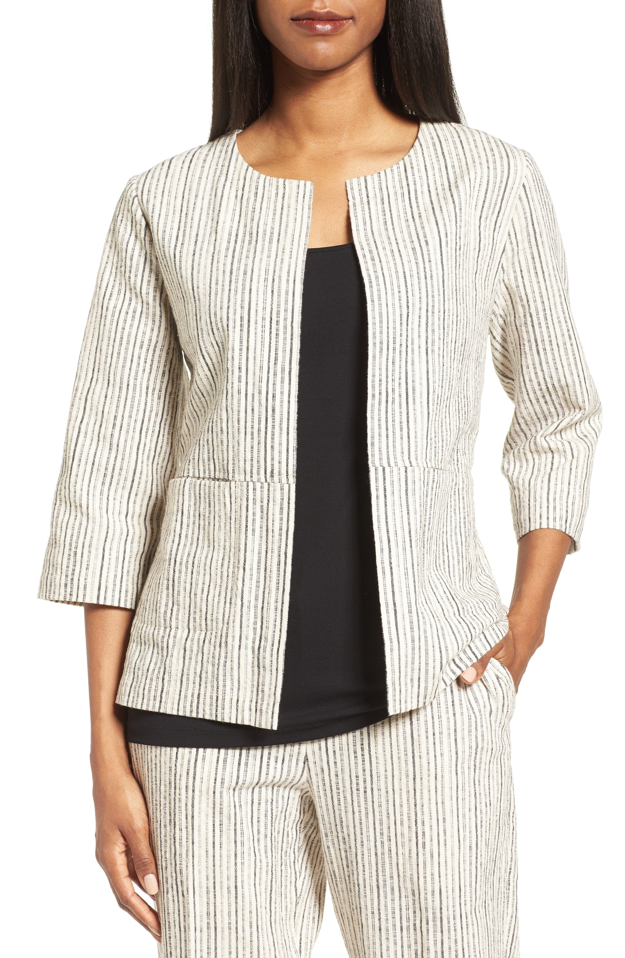 Eileen Fisher Organic Cotton Round Neck Jacket (Nordstrom Exclusive)