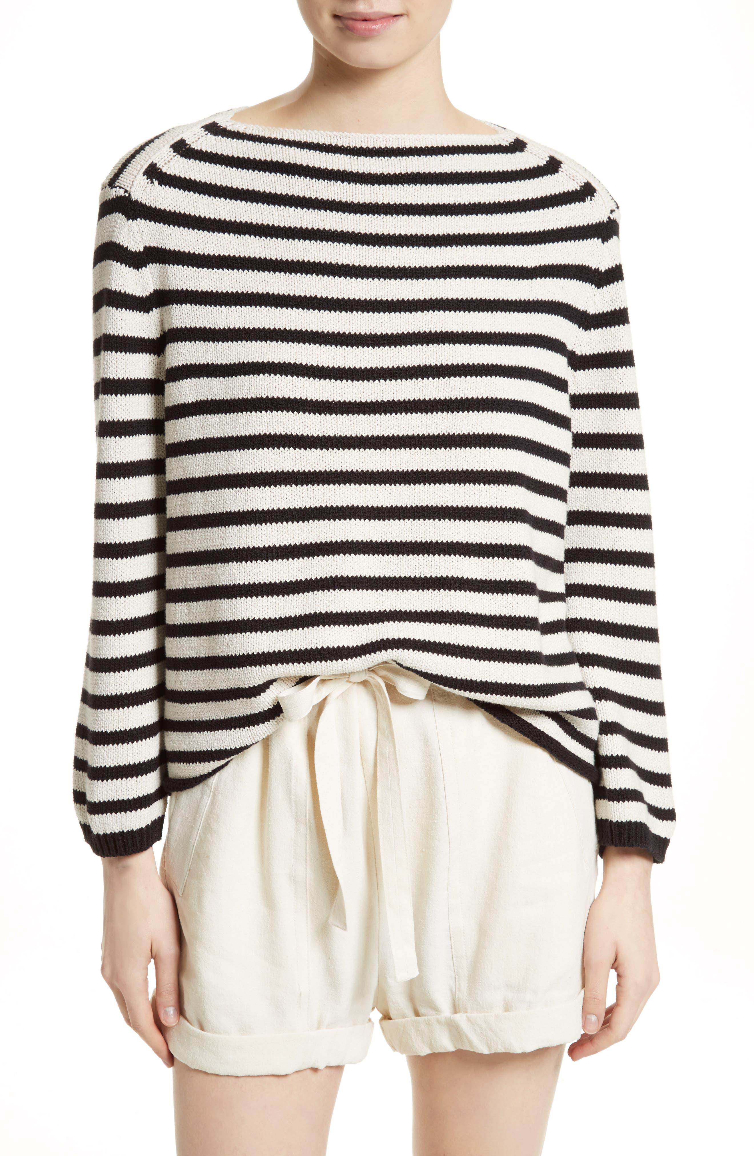 Alternate Image 1 Selected - Vince Stripe Cotton Blend Pullover