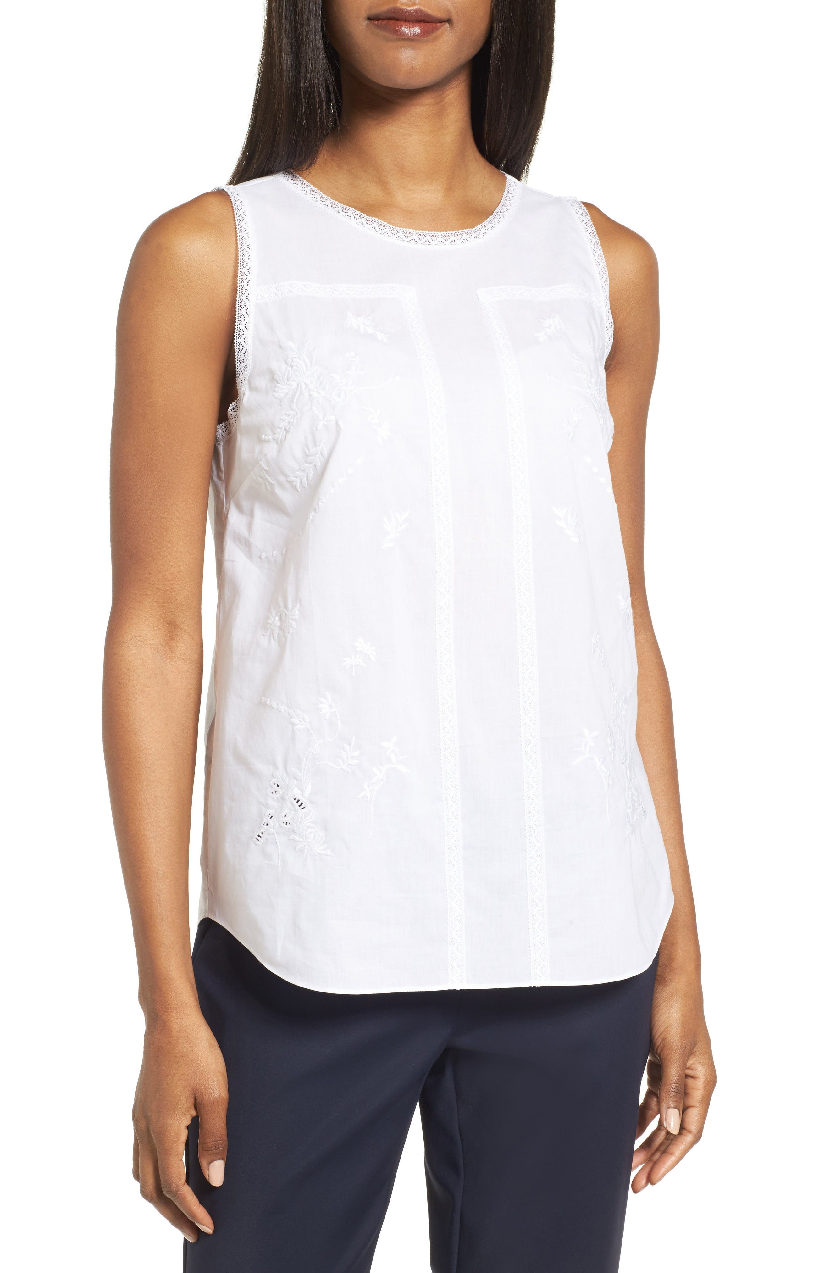 Nordstrom Collection Embroidered Cotton Voile Top