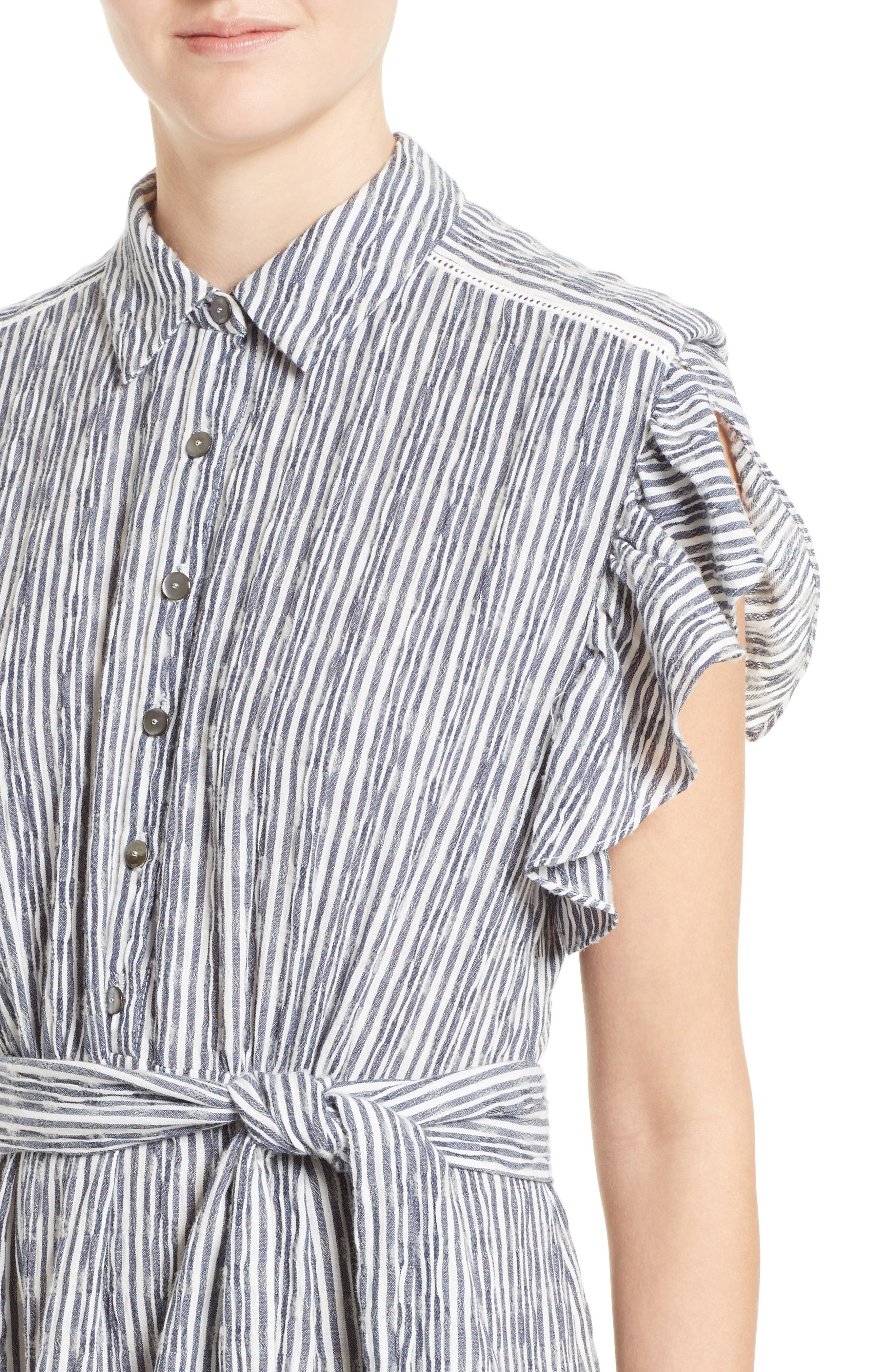 Alternate Image 4  - Rebecca Taylor Stripe Shirtdress