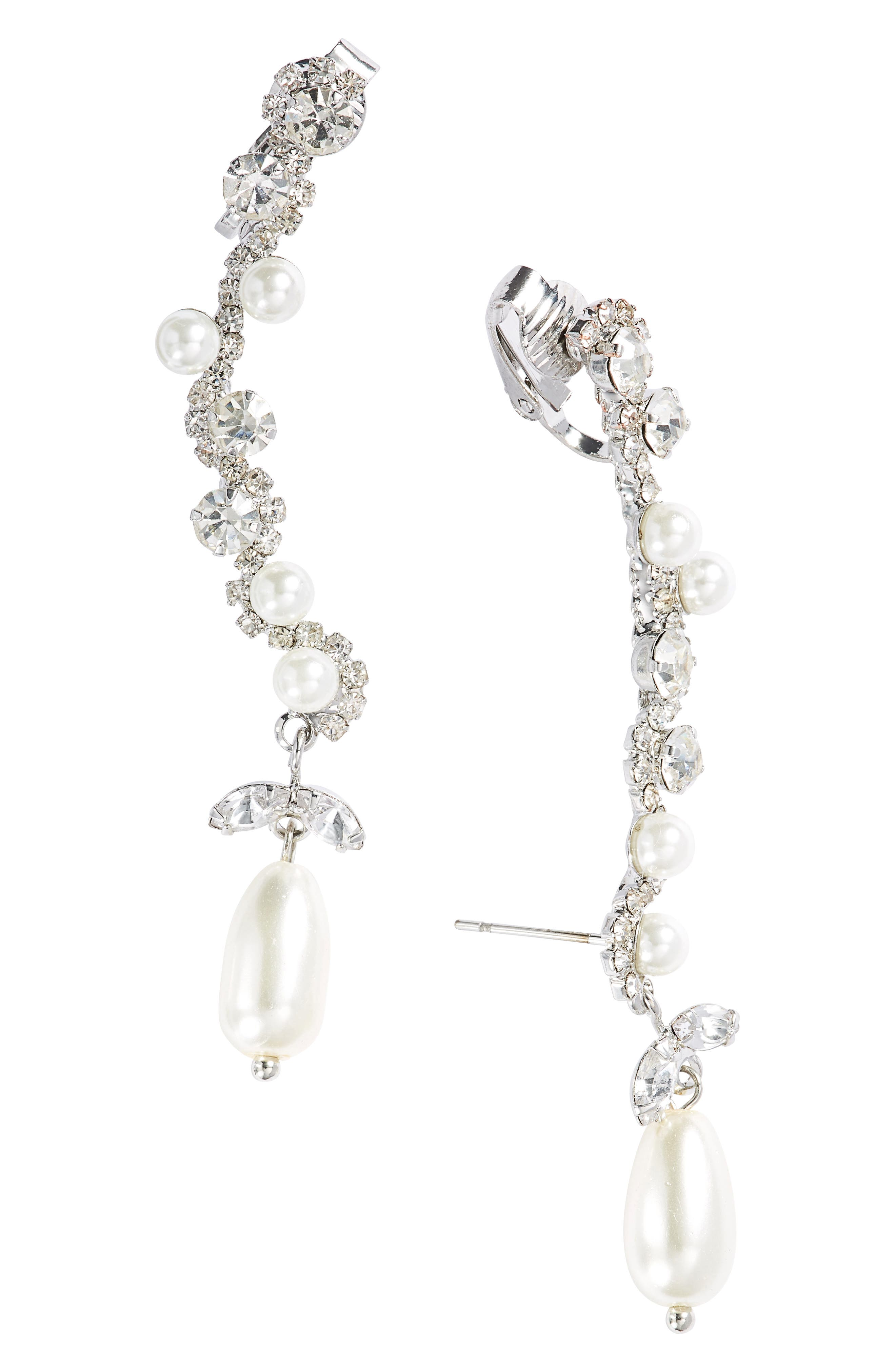 CRISTABELLE Imitation Pearl & Crystal Clip Ear Crawlers