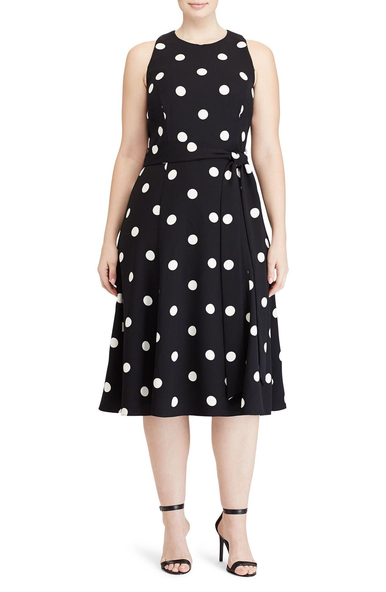 Lauren Ralph Lauren Dot Print Crepe Fit & Flare Dress (Plus Size)