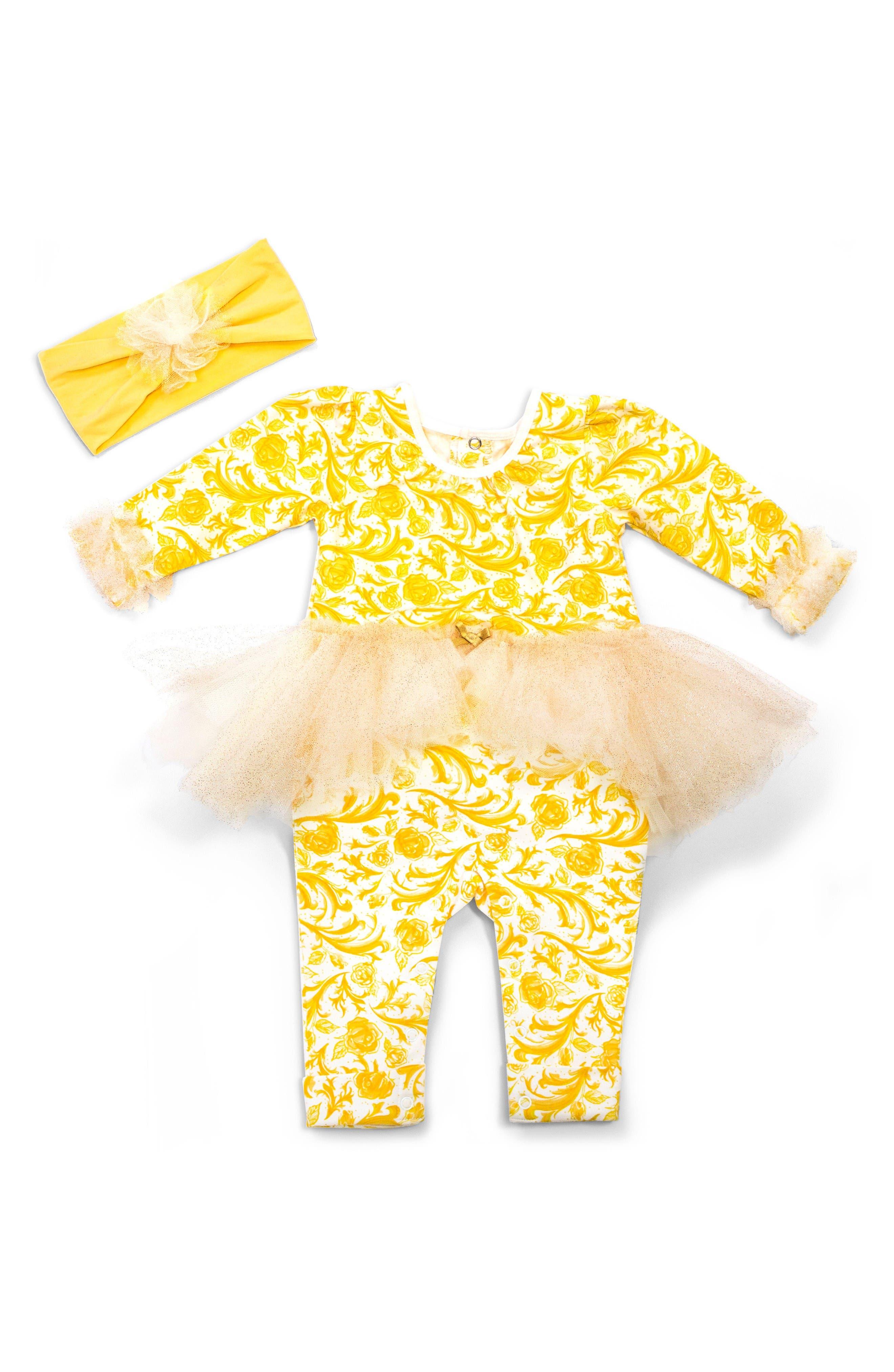 Disney by Tutu Couture Belle Skirted Romper & Headband Set (Baby Girls)