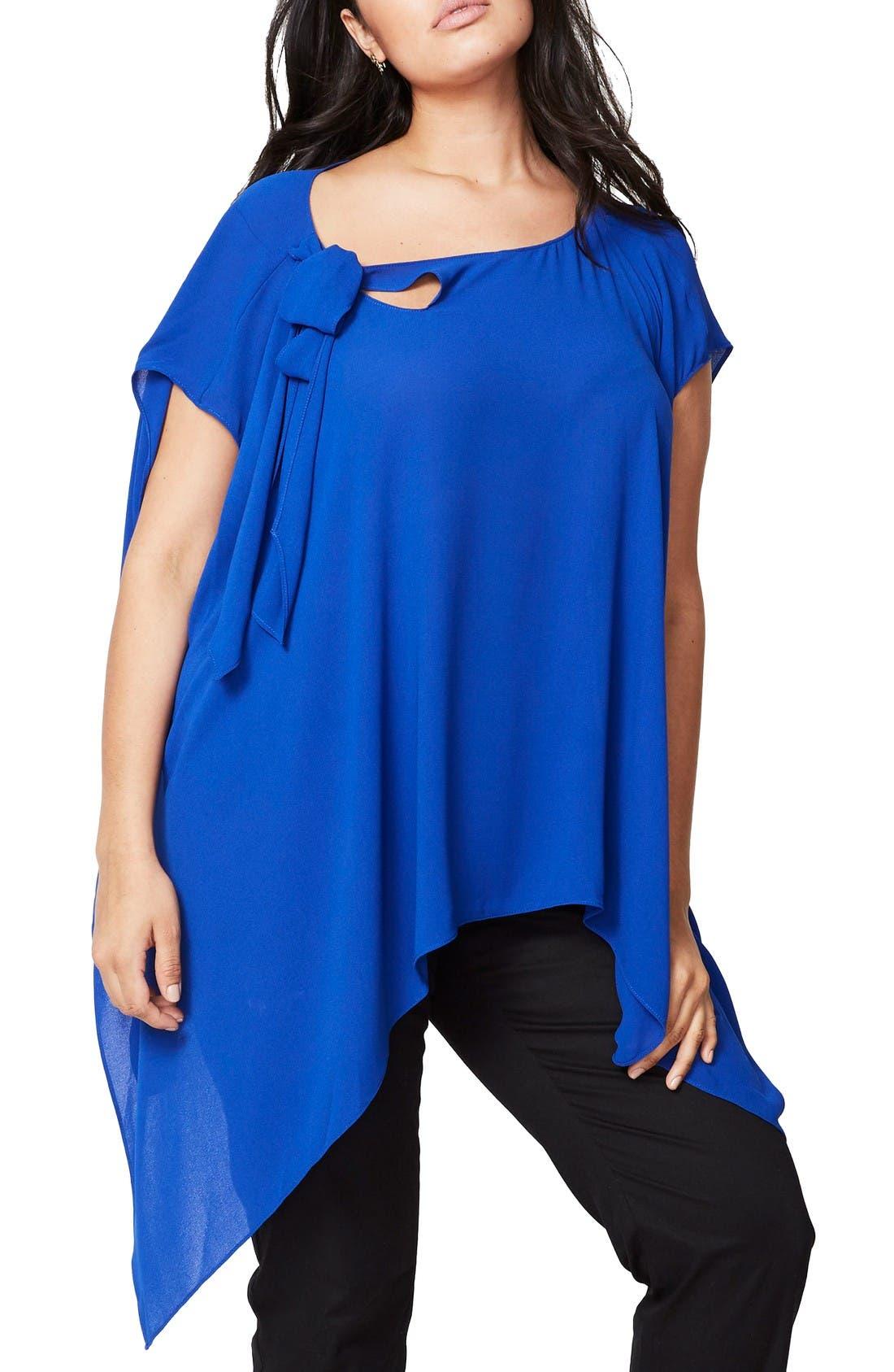 RACHEL Rachel Roy Vintage Bow Side Drape Blouse (Plus Size)