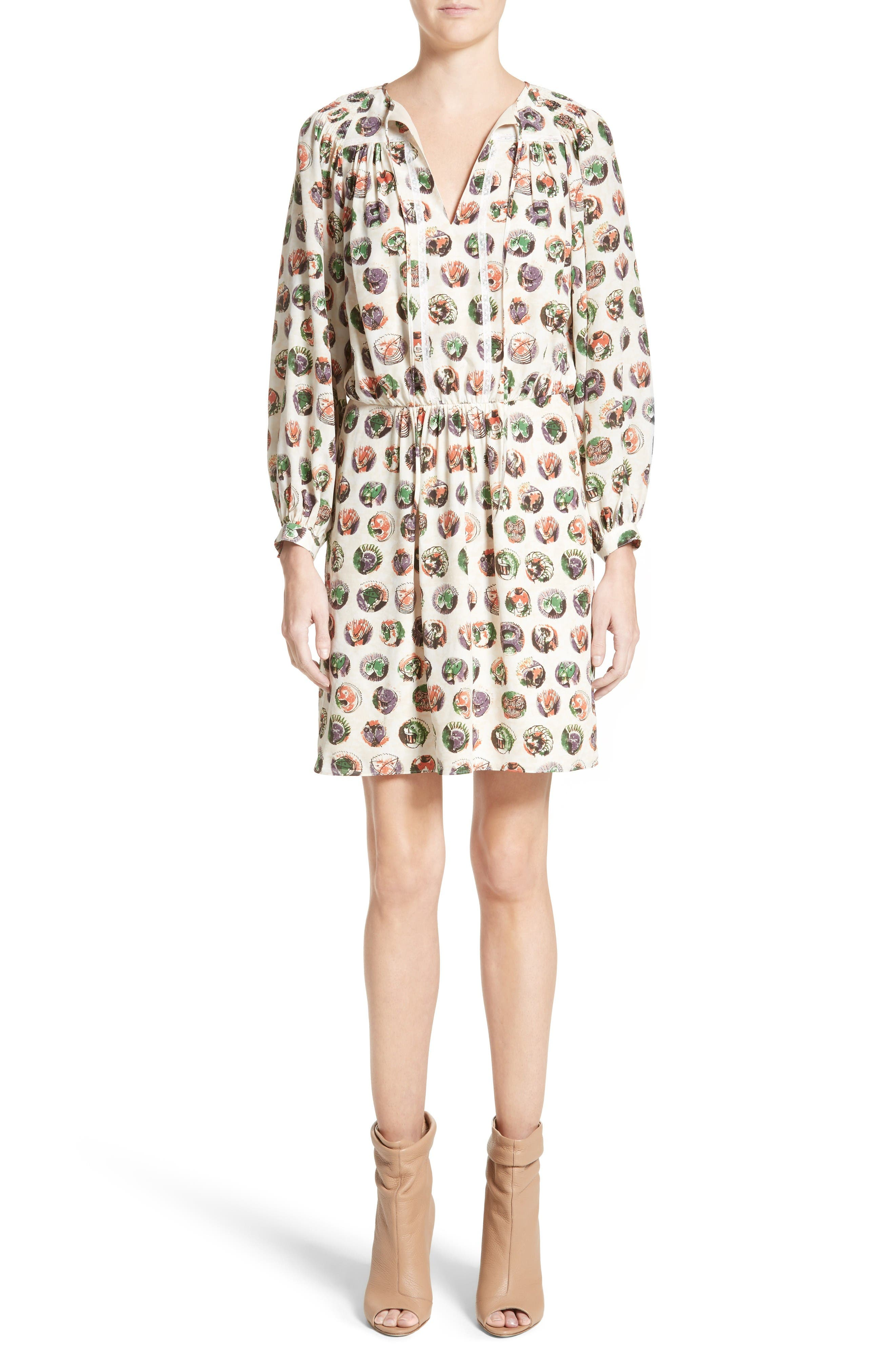 Alternate Image 1 Selected - Burberry Verity Print Mulberry Silk Shirtdress