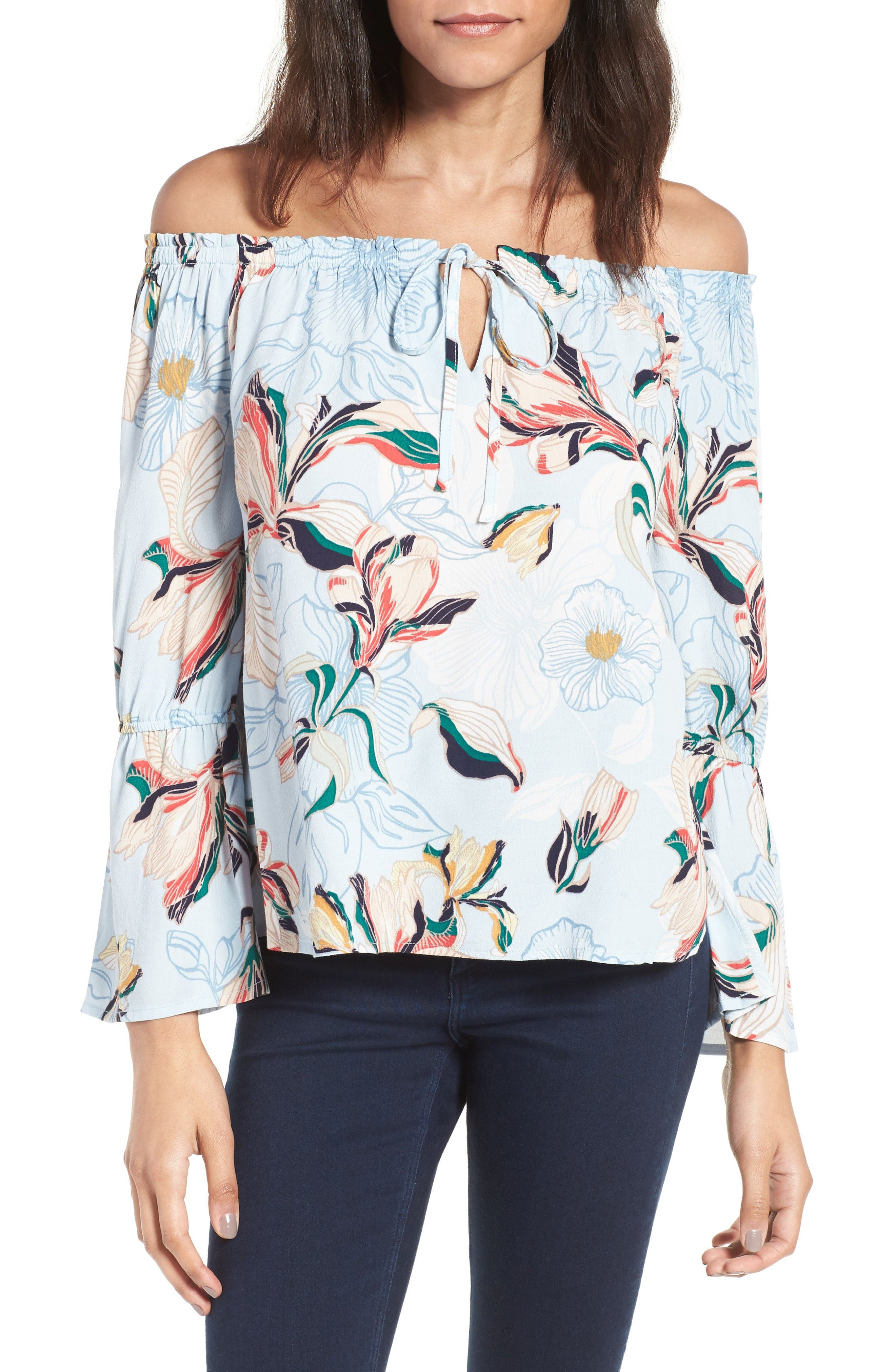 cupcakes and cashmere Bendita Off the Shoulder Top